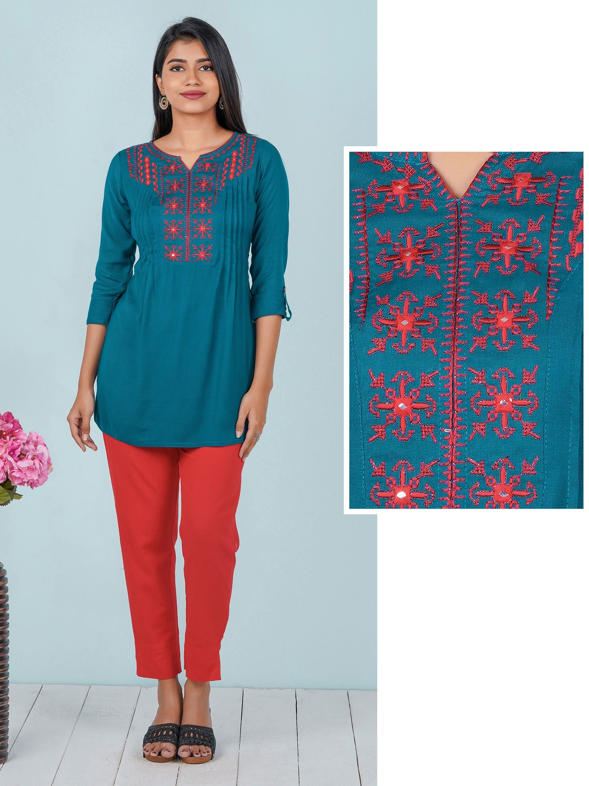 Foil Mirror work & Motif Embroidered Pin Tuck Tunic