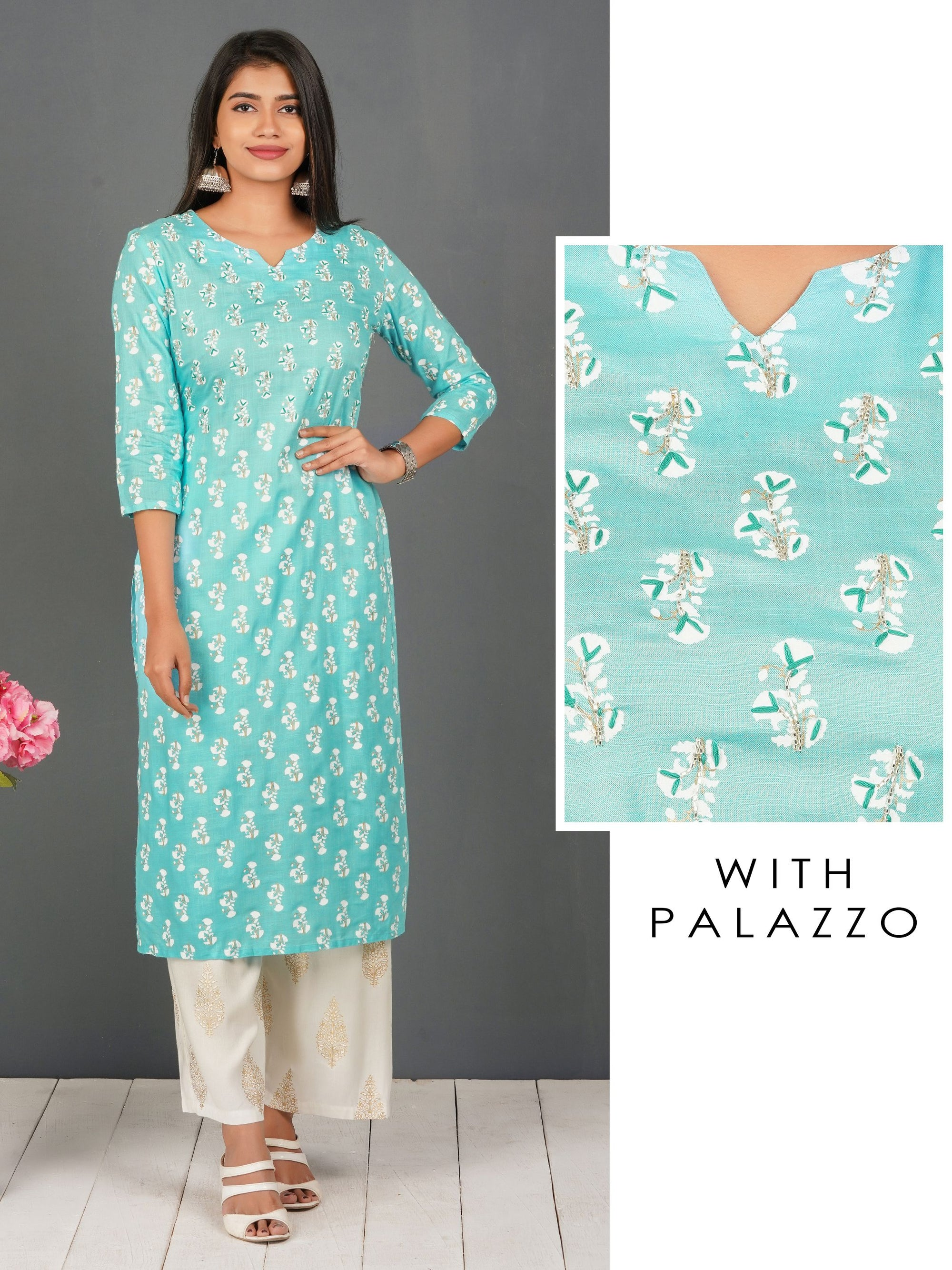 Cutdana Detailed Hand Block Floral Kurti with Khari Printed Palazzo Set