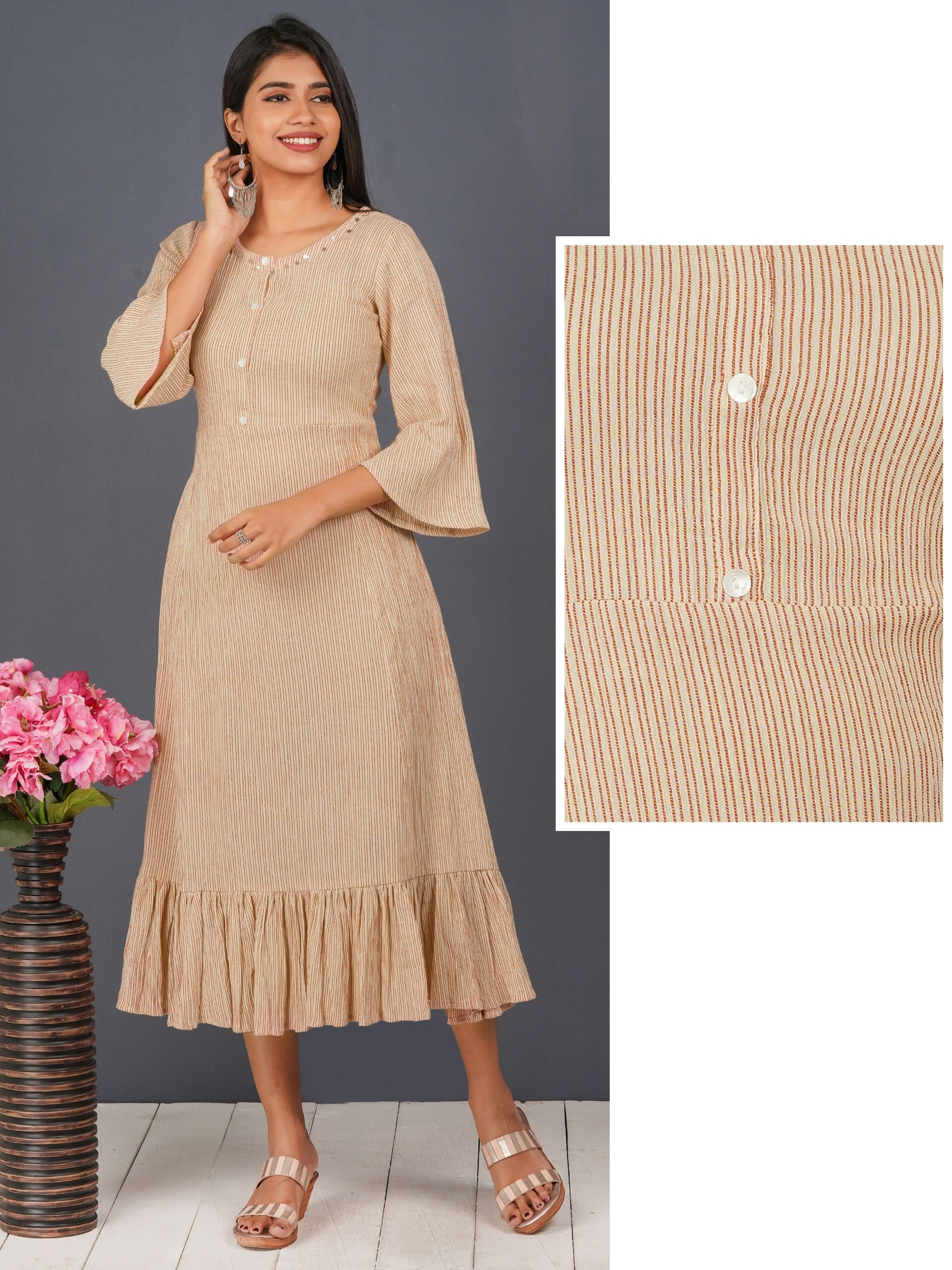 Tiki Coin & Pin Stripes Detailed Maxi - Beige
