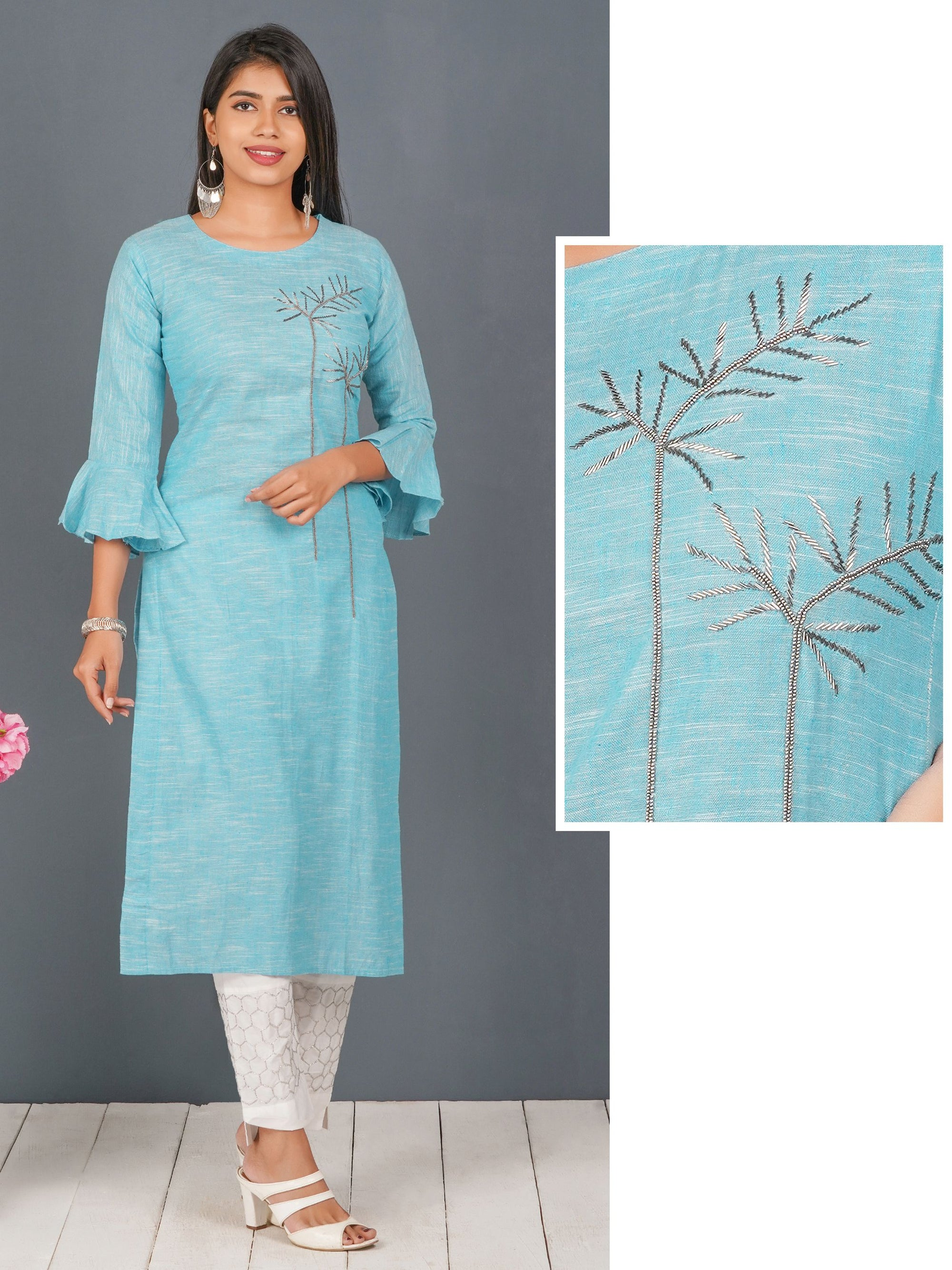 Black Cutdana & Beads Embellished Cotton Kurti  - Blue