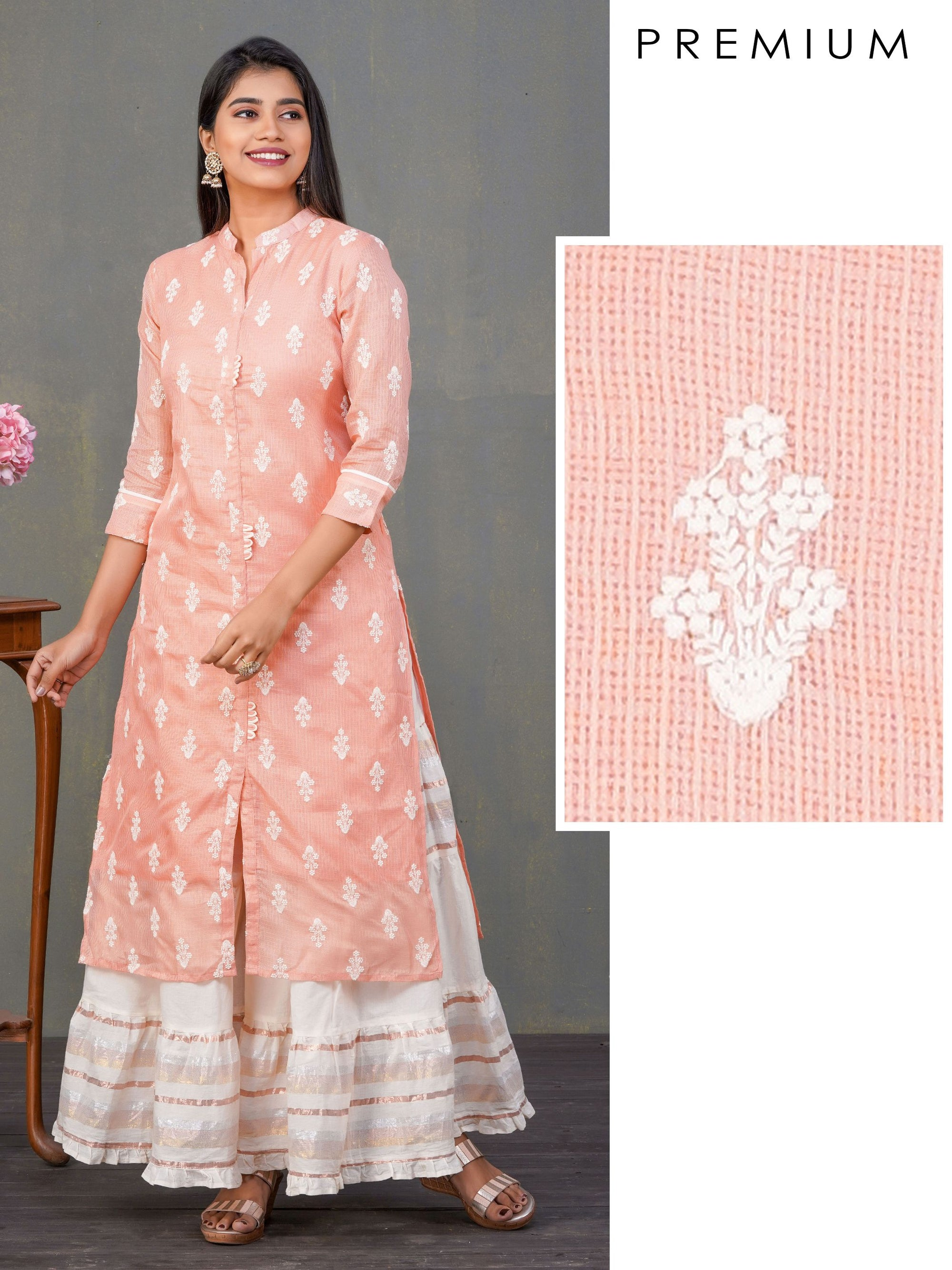 Floral Embroidered & Loops Enhanced Kota Doria Kurti – Peach