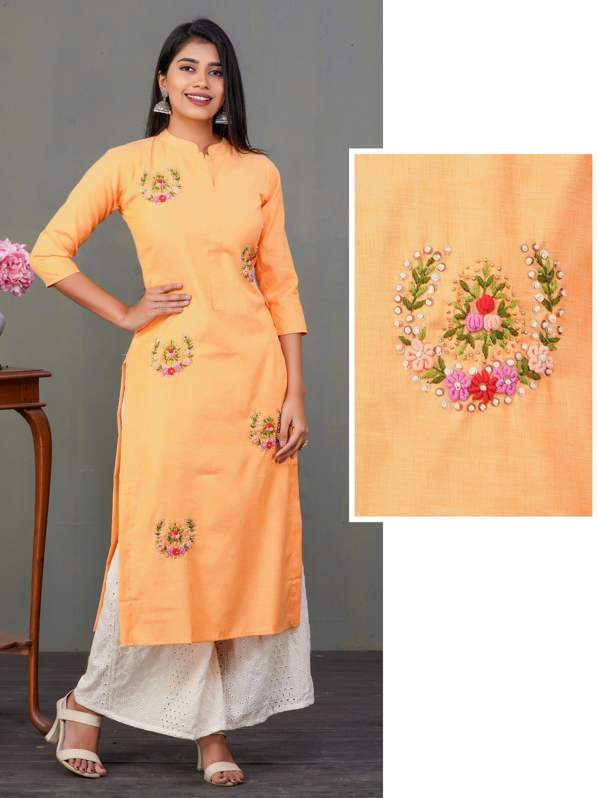 Bullion Knot Wreath Embroidered Sequins Kurti - Orange