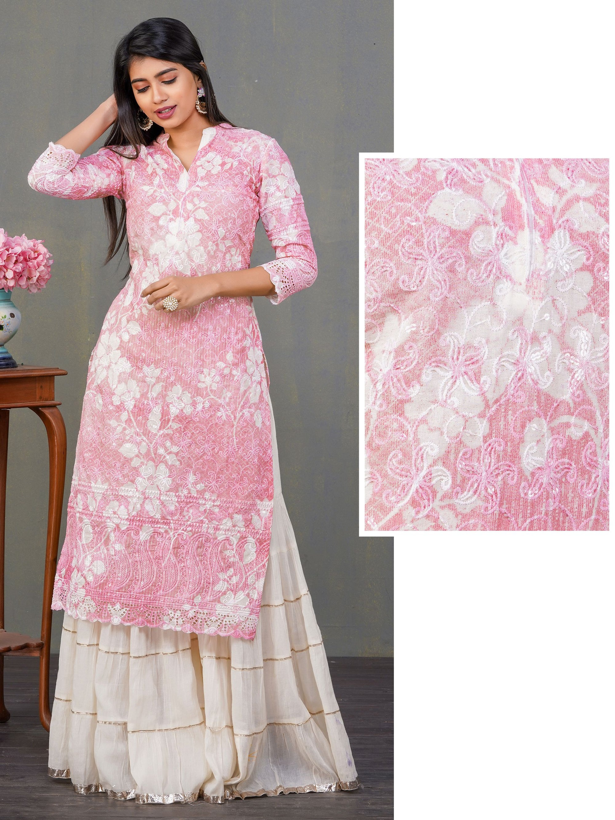 Floral Shadow Printed & Embroidered Cotton Kurti – Pink
