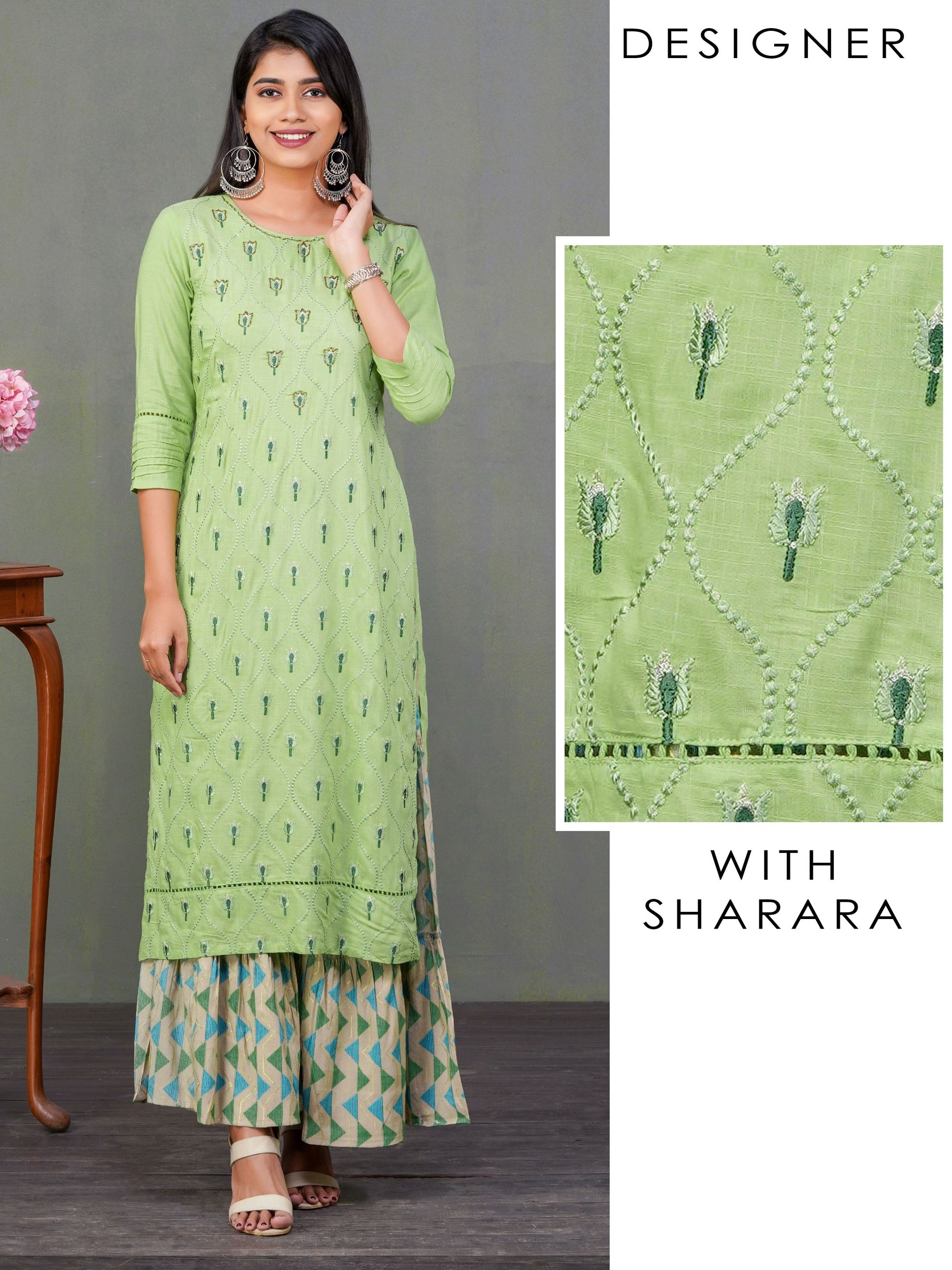 Tulip & Serpentine Embroidered Kurti & Sharara Set