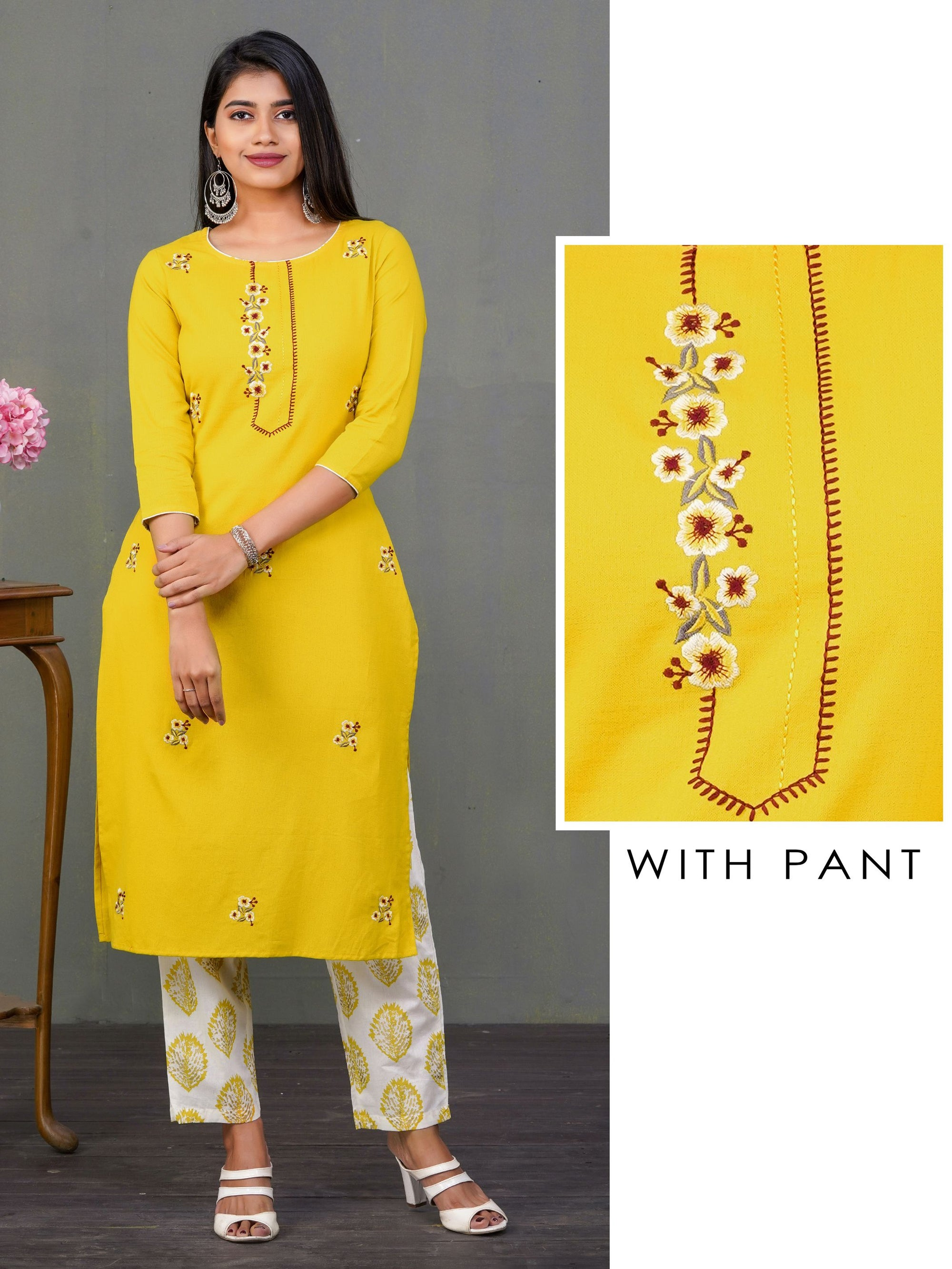Minimal Floral Embroidered Kurti & Leaf Printed Pant Set - Mustard