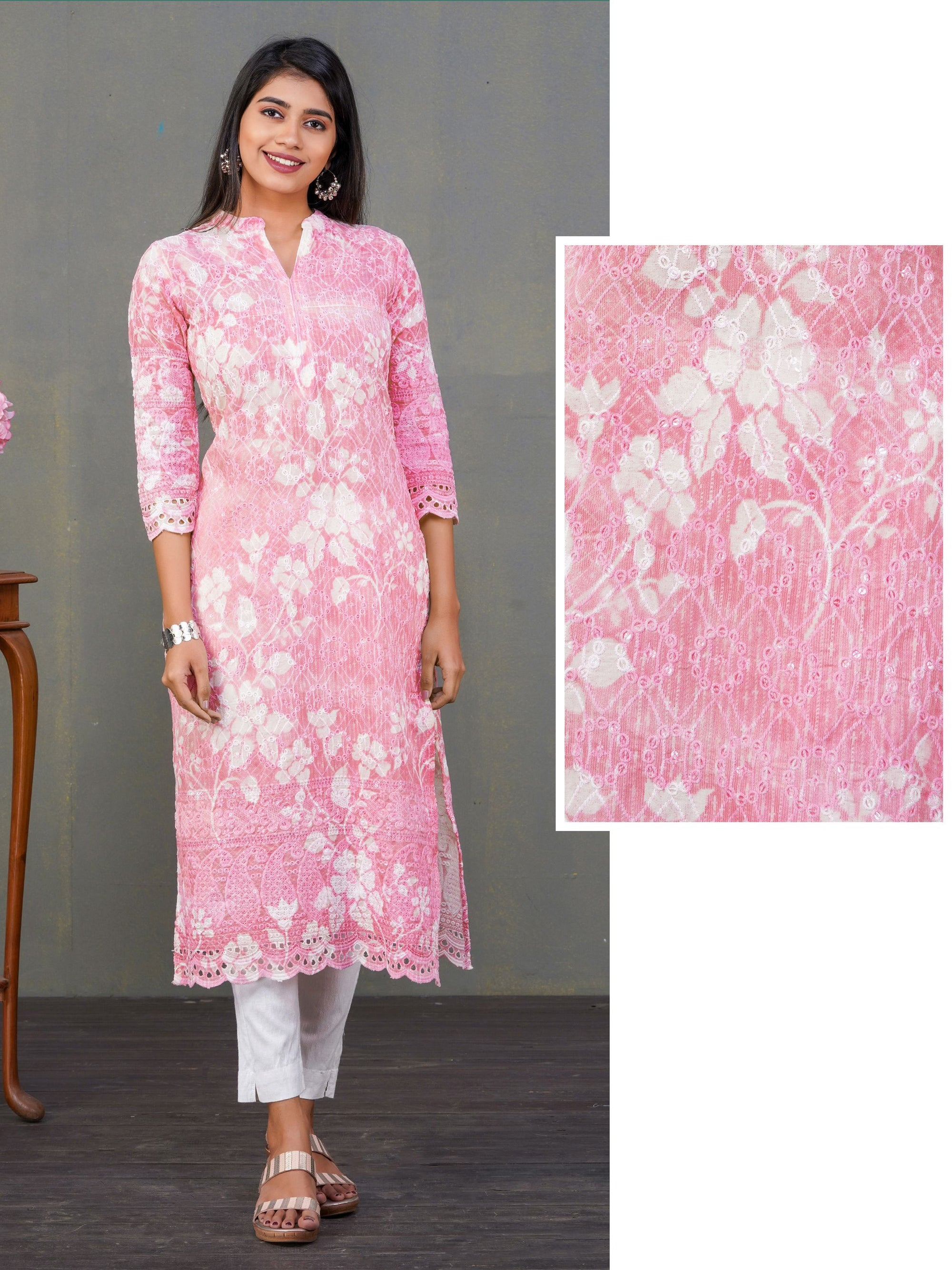 Floral Shadow Printed & Embroidered Cotton Kurti