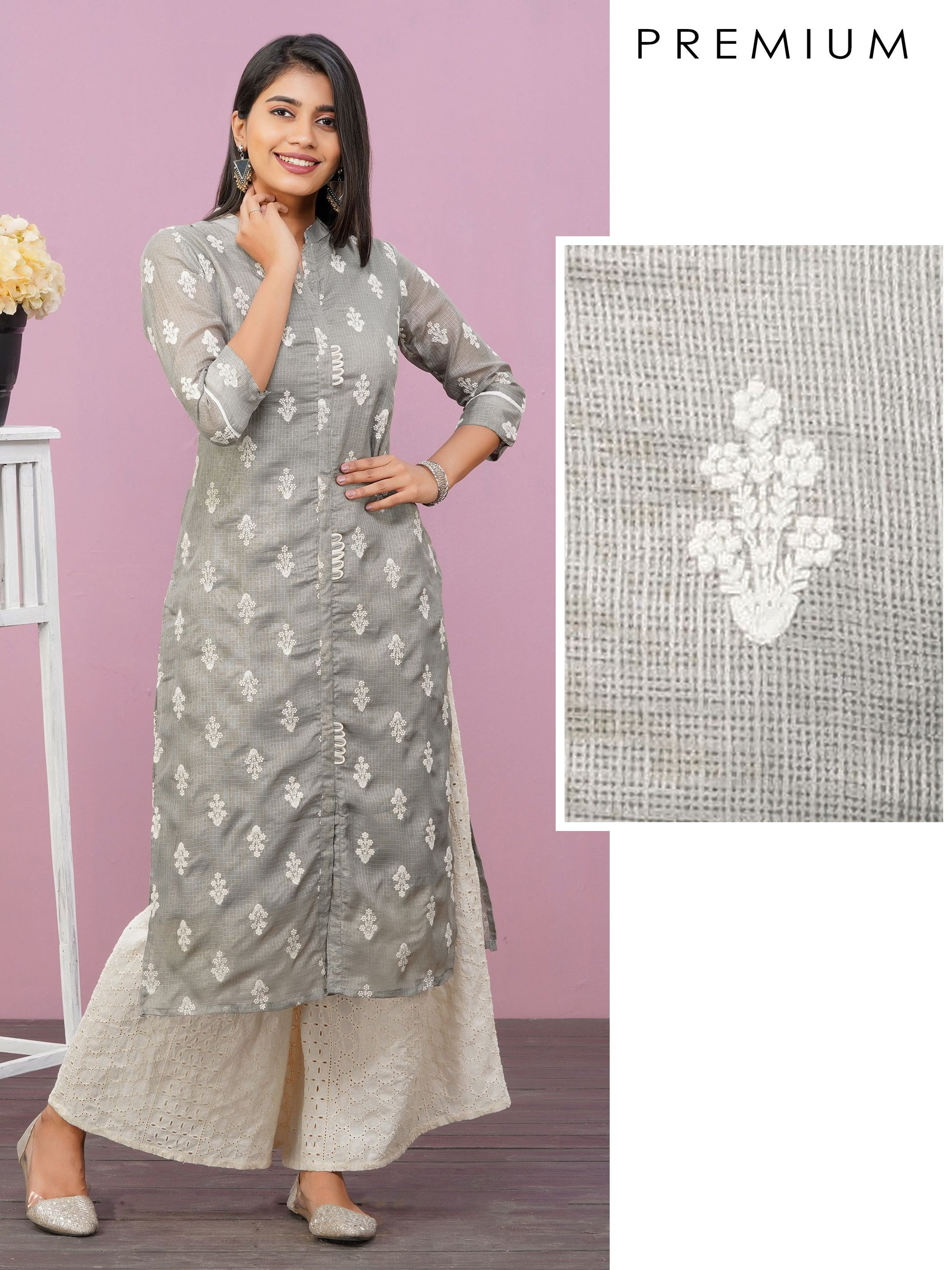 Floral Embroidered & Loops Enhanced Kota Doria Kurti – Grey