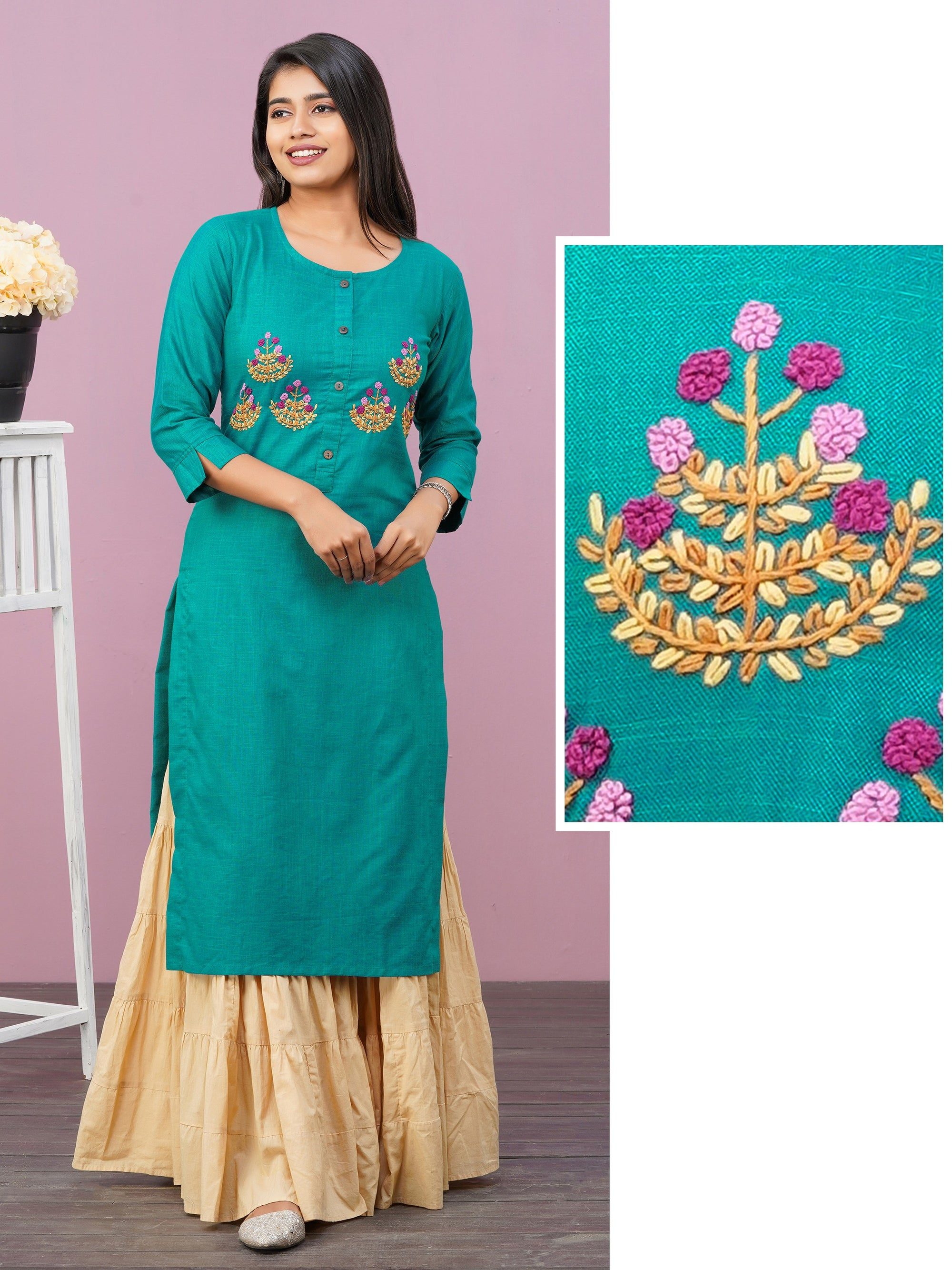 Anchor Patterned French Knot Floral Embroidered Kurti