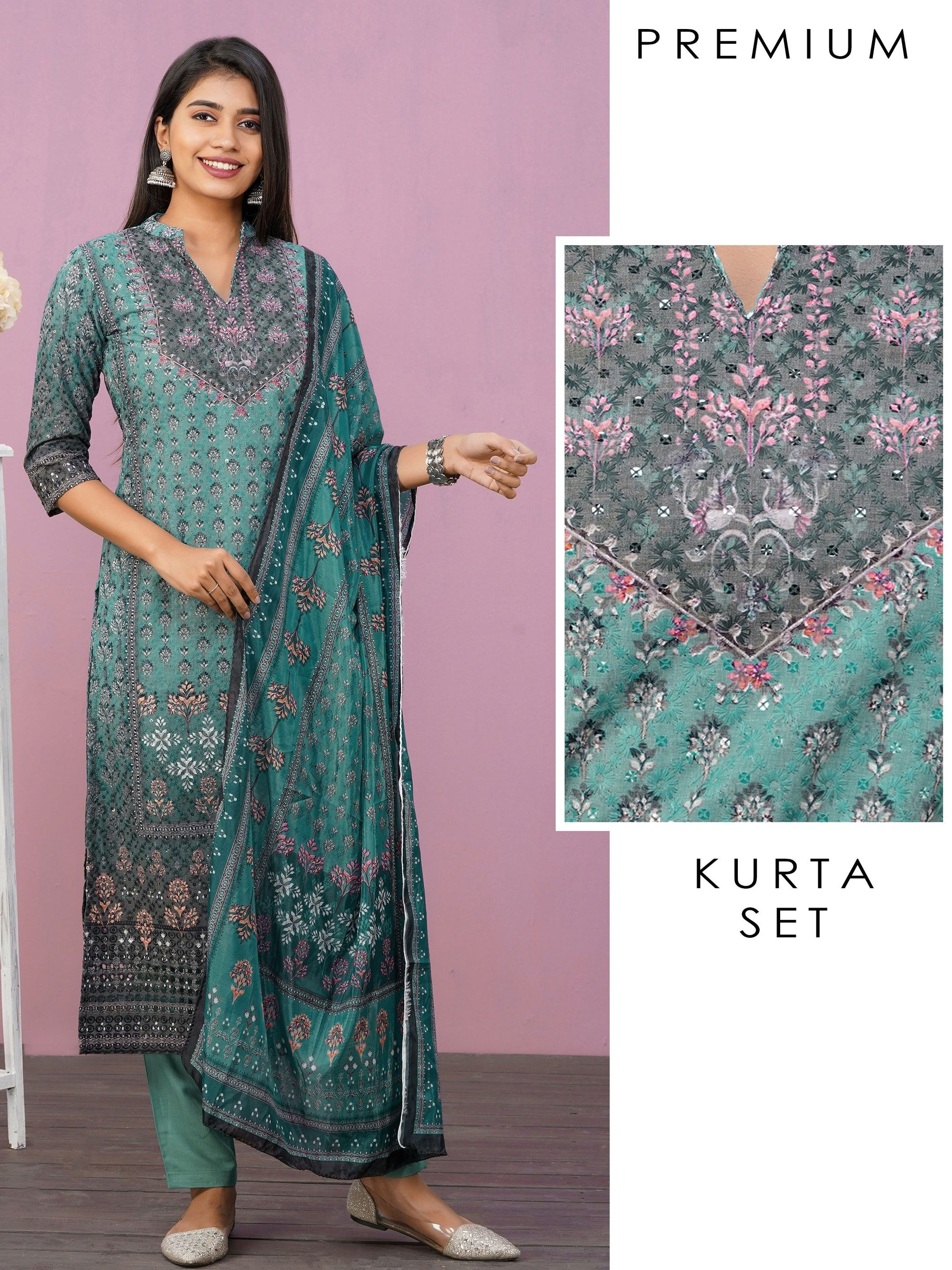 Digital Floral Printed & Hakoba Embroidered Kurti, Pant & Dupatta Set - Teal Green