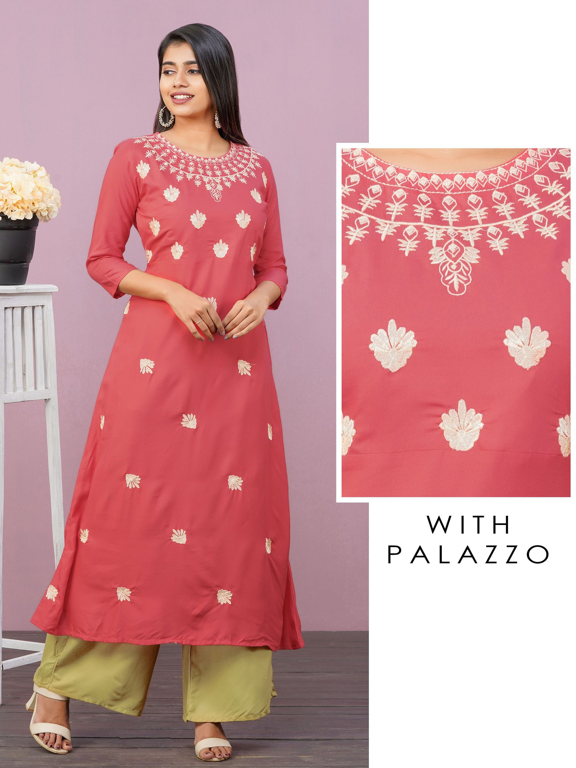 Machine Embroidered A-Line Kurti & Solid Straight Palazzo Set – Peach