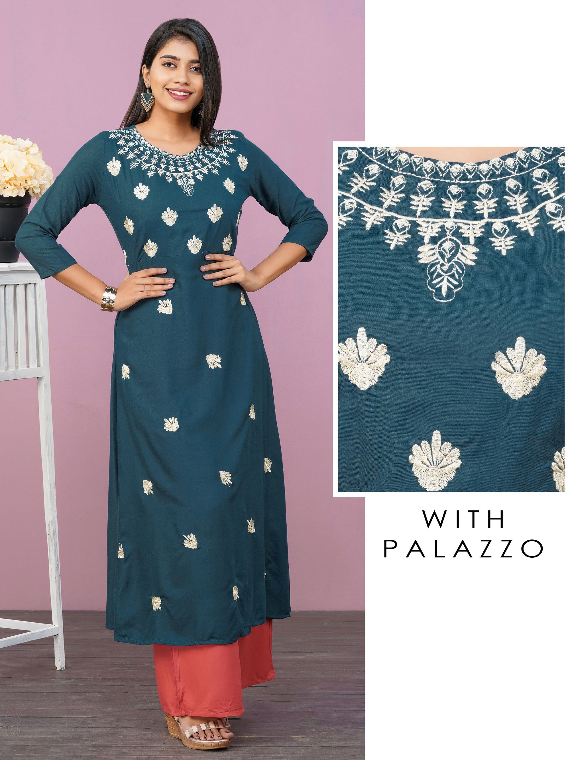 Machine Embroidered A-Line Kurti & Solid Straight Palazzo Set – Teal Blue
