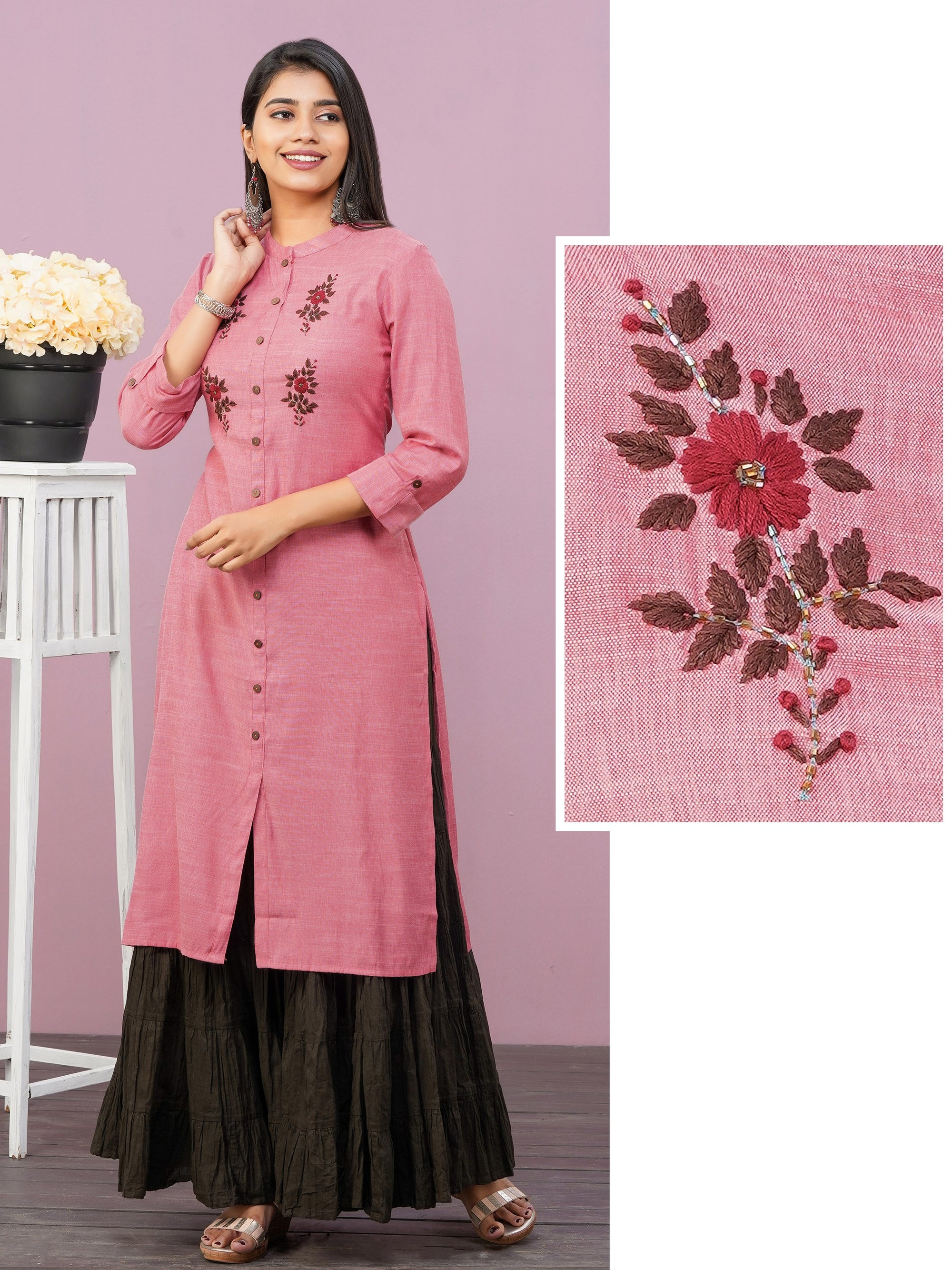 Hand Embroidered & Cutdana Embellished Kurti