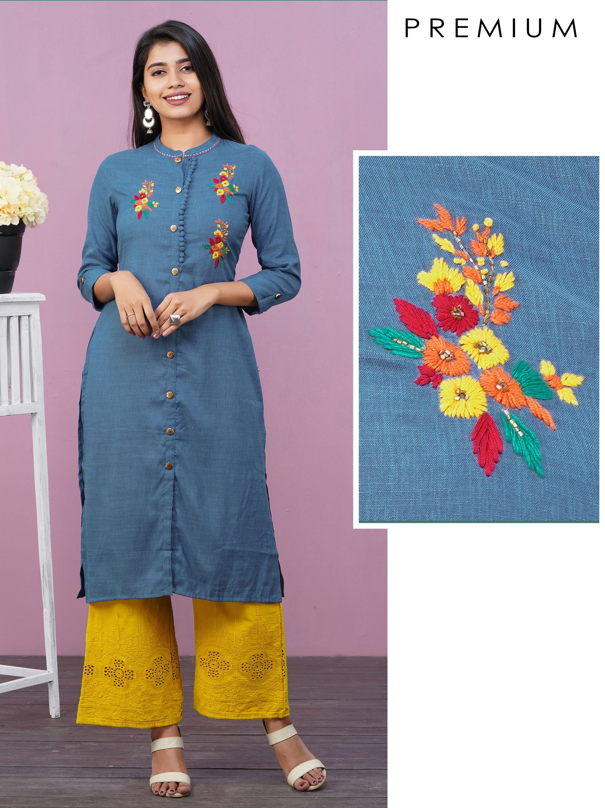 Floral Hand Embroidered Premium Cotton Kurti