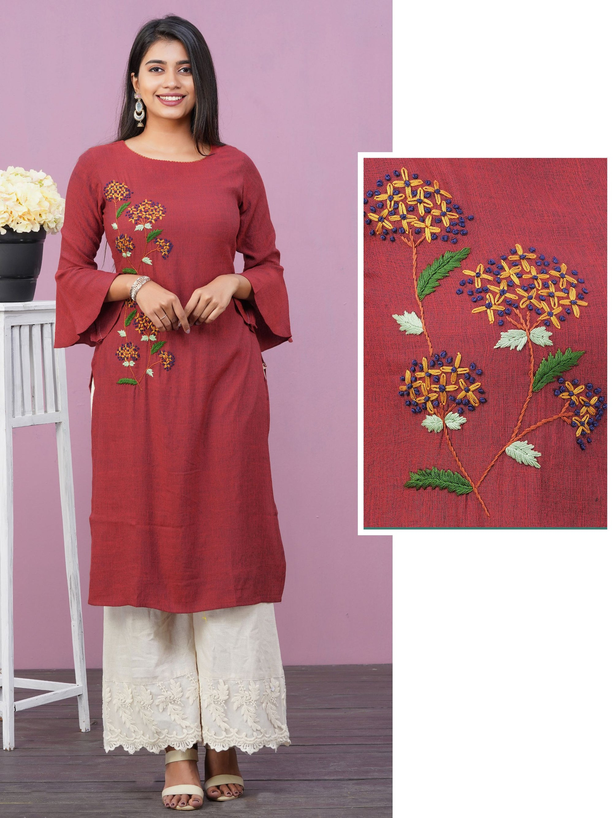 French Knot Floral Embroidered Cotton Kurti