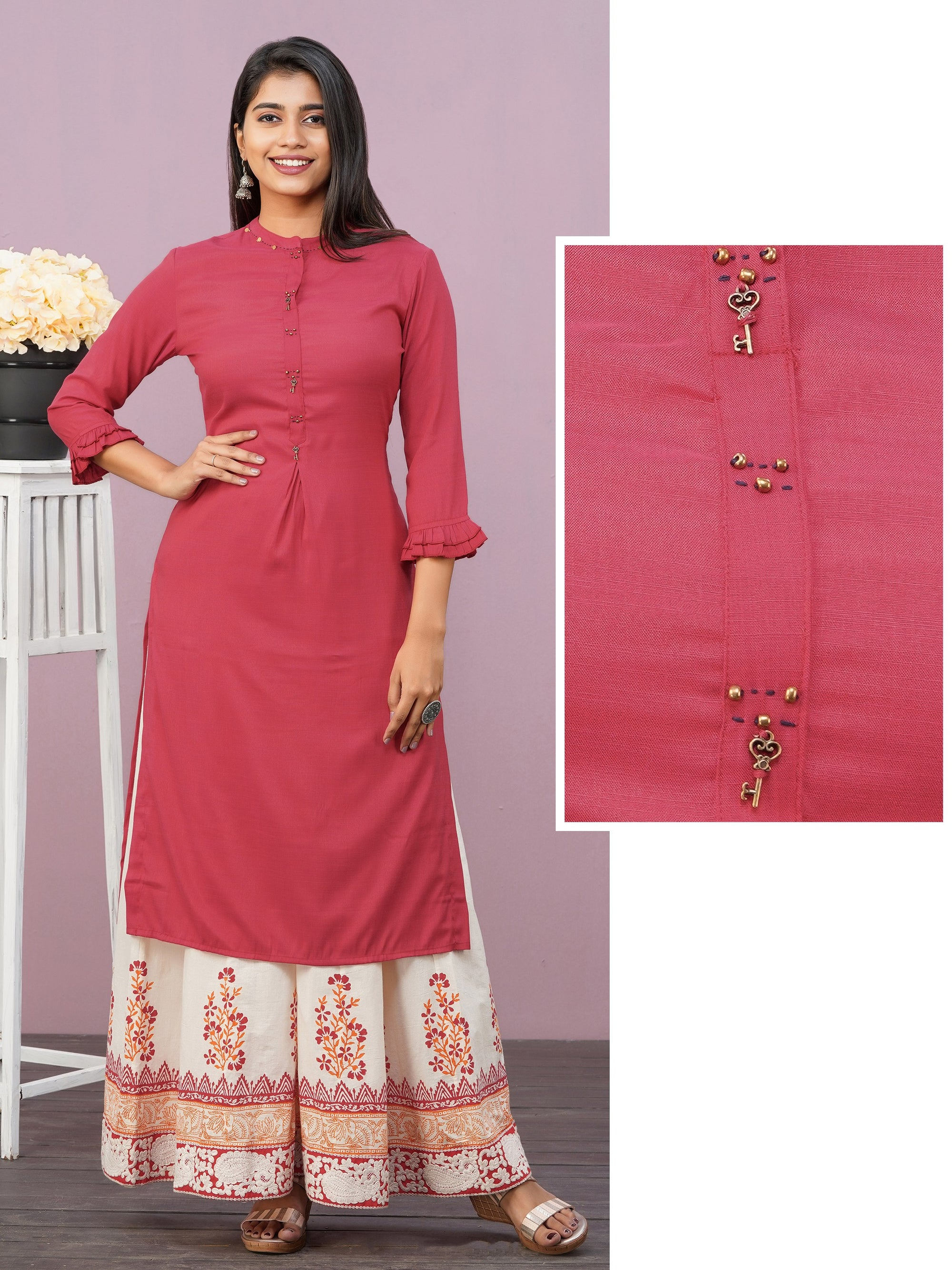 Antique Key Brooches Enhanced Rayon Kurti