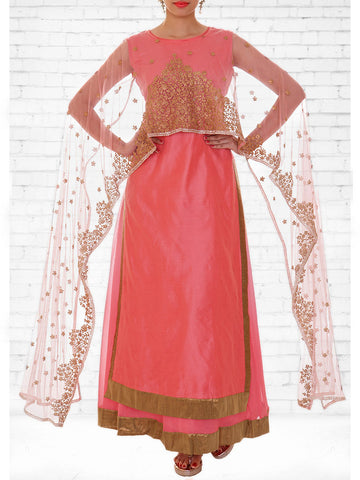 Zari Work Chanderi & Tulle Cape Kurti with Skirt Set