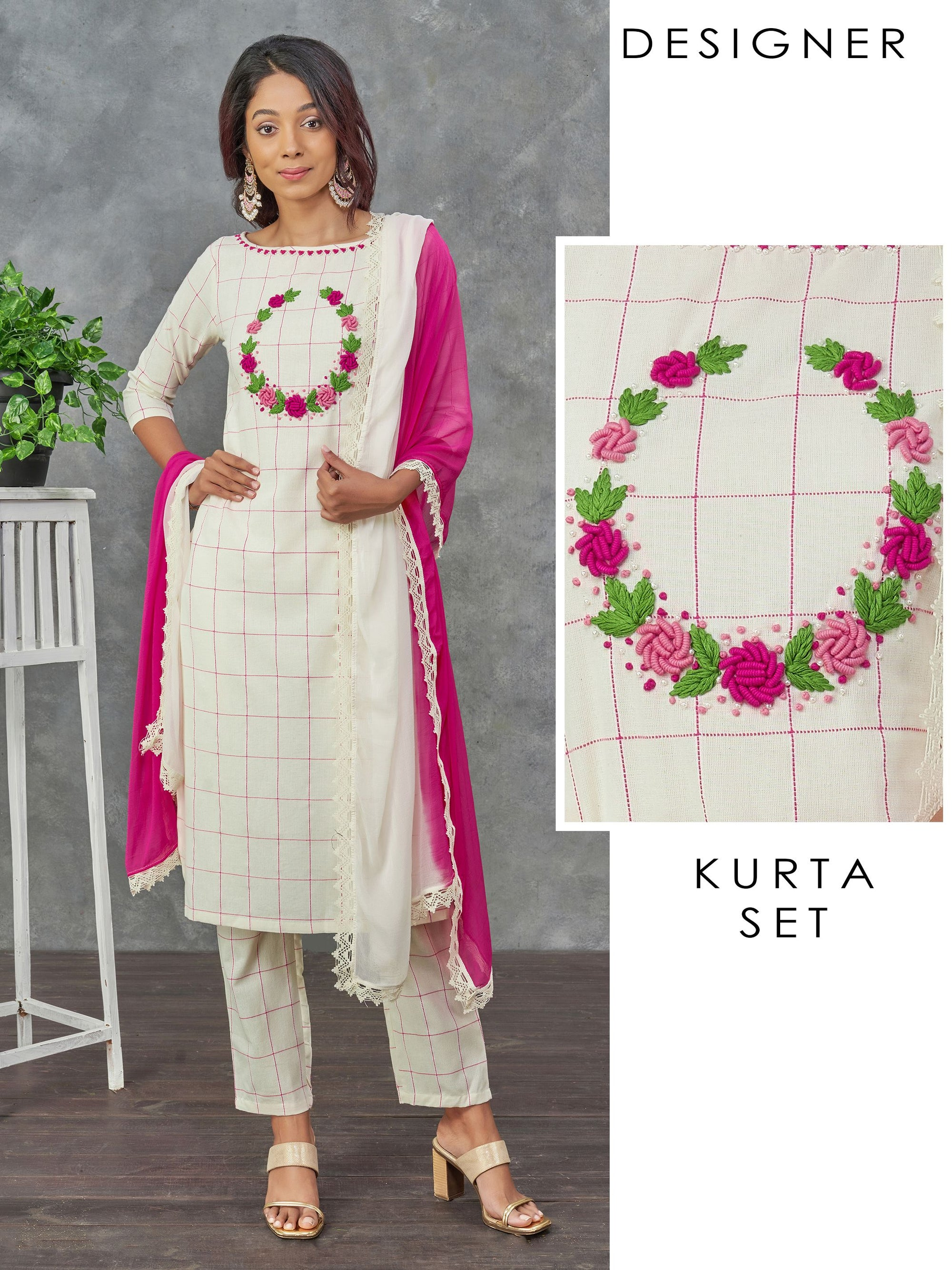 Bullion Knot Wreath Embroidered Kurti, Pant & Dupatta Set – Off-White