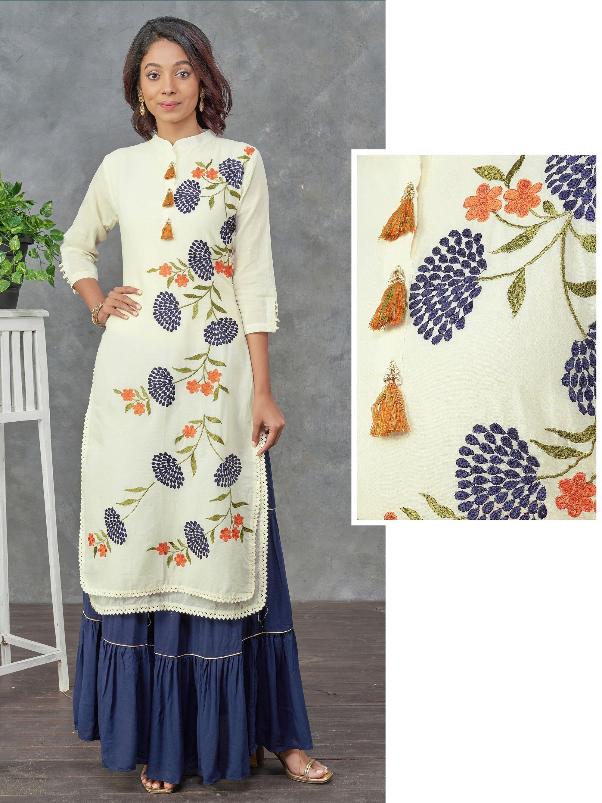 Satin Stitch Floral Embroidered Layered Kurti - Off-White