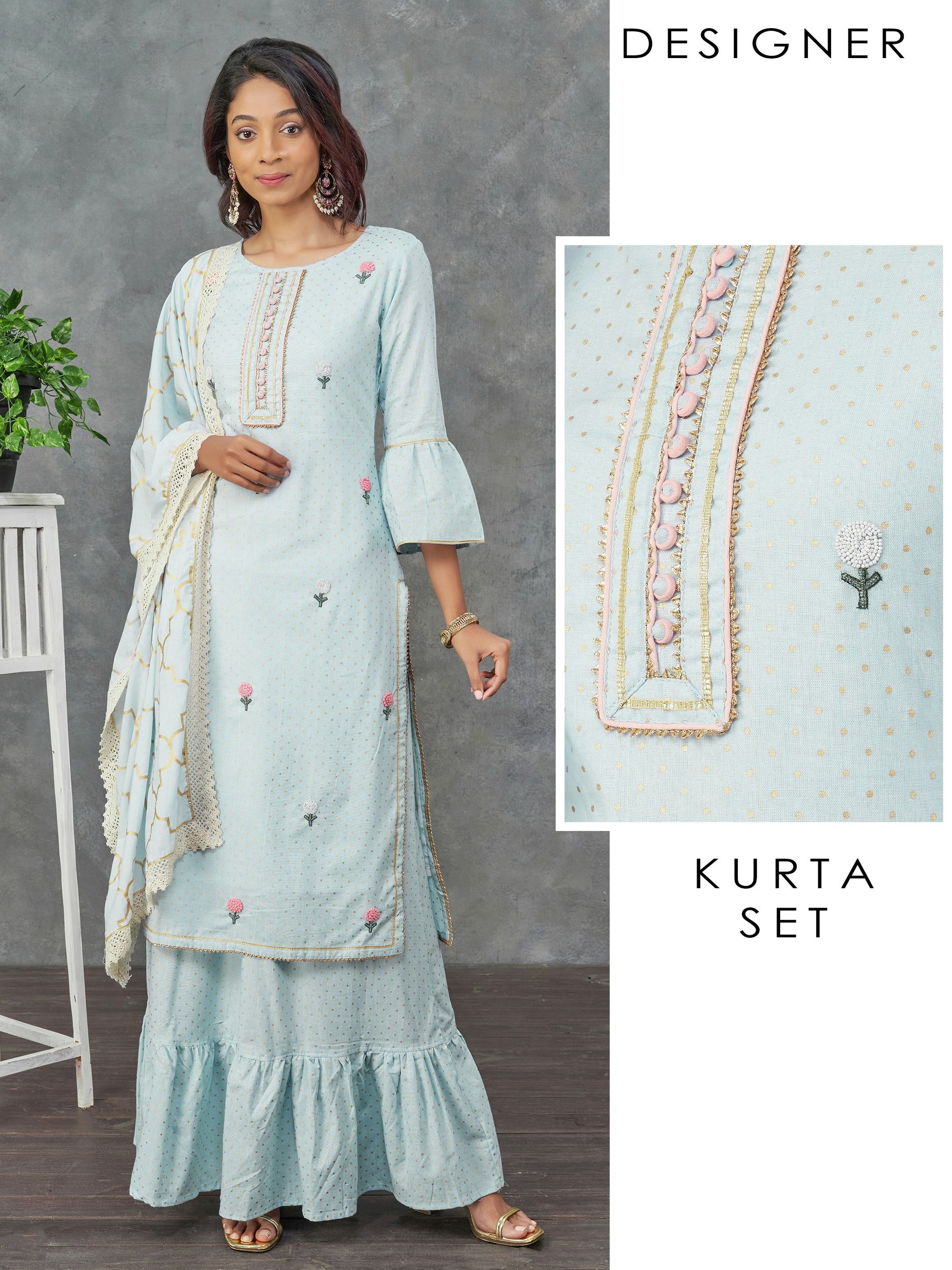 Glass Bead & Temple Gota Embellished Kurti, Skirt & Dupatta Set