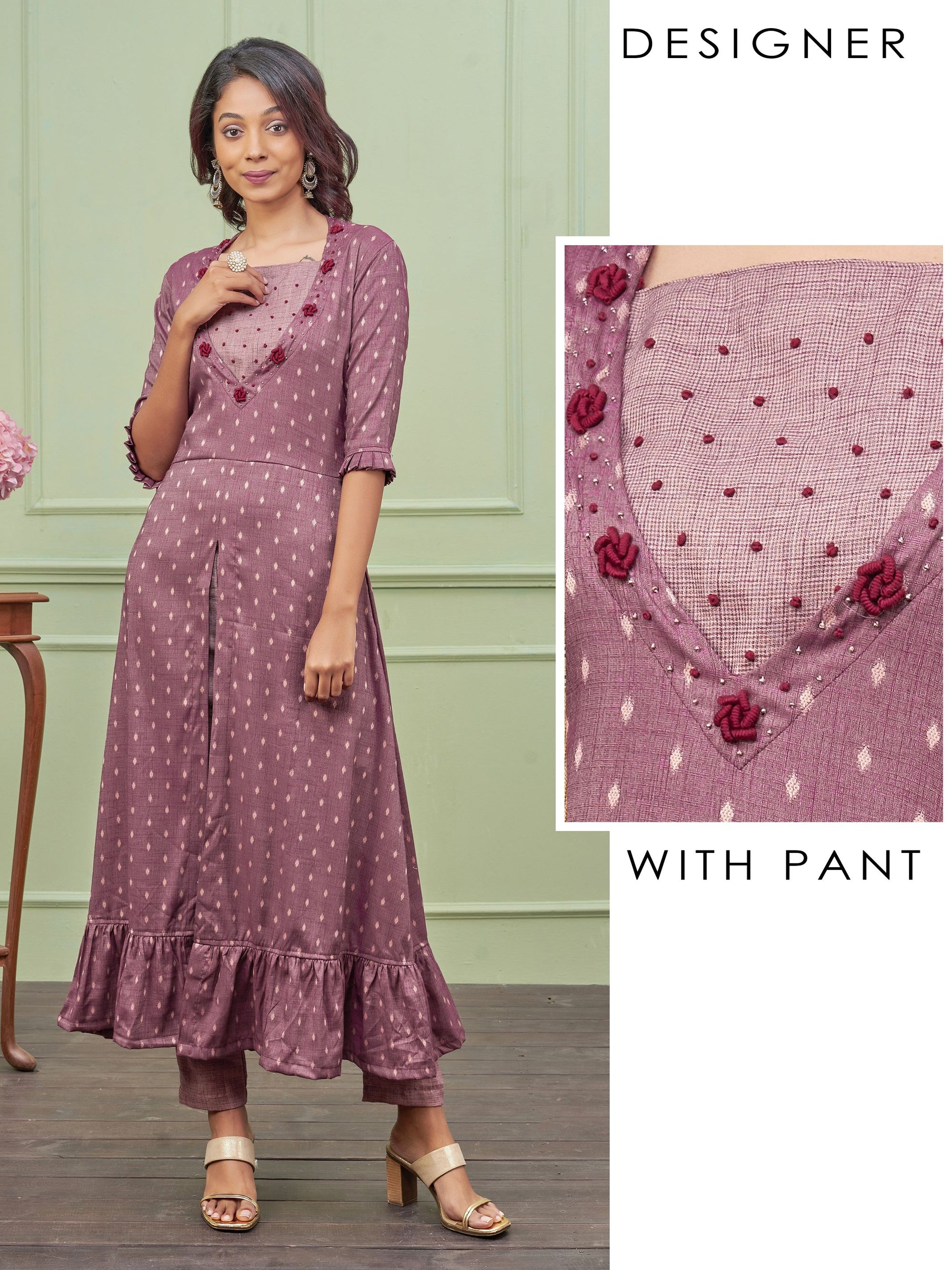 Diamond Buta Printed Kurti & Glen Checkered Pant Set – Purple
