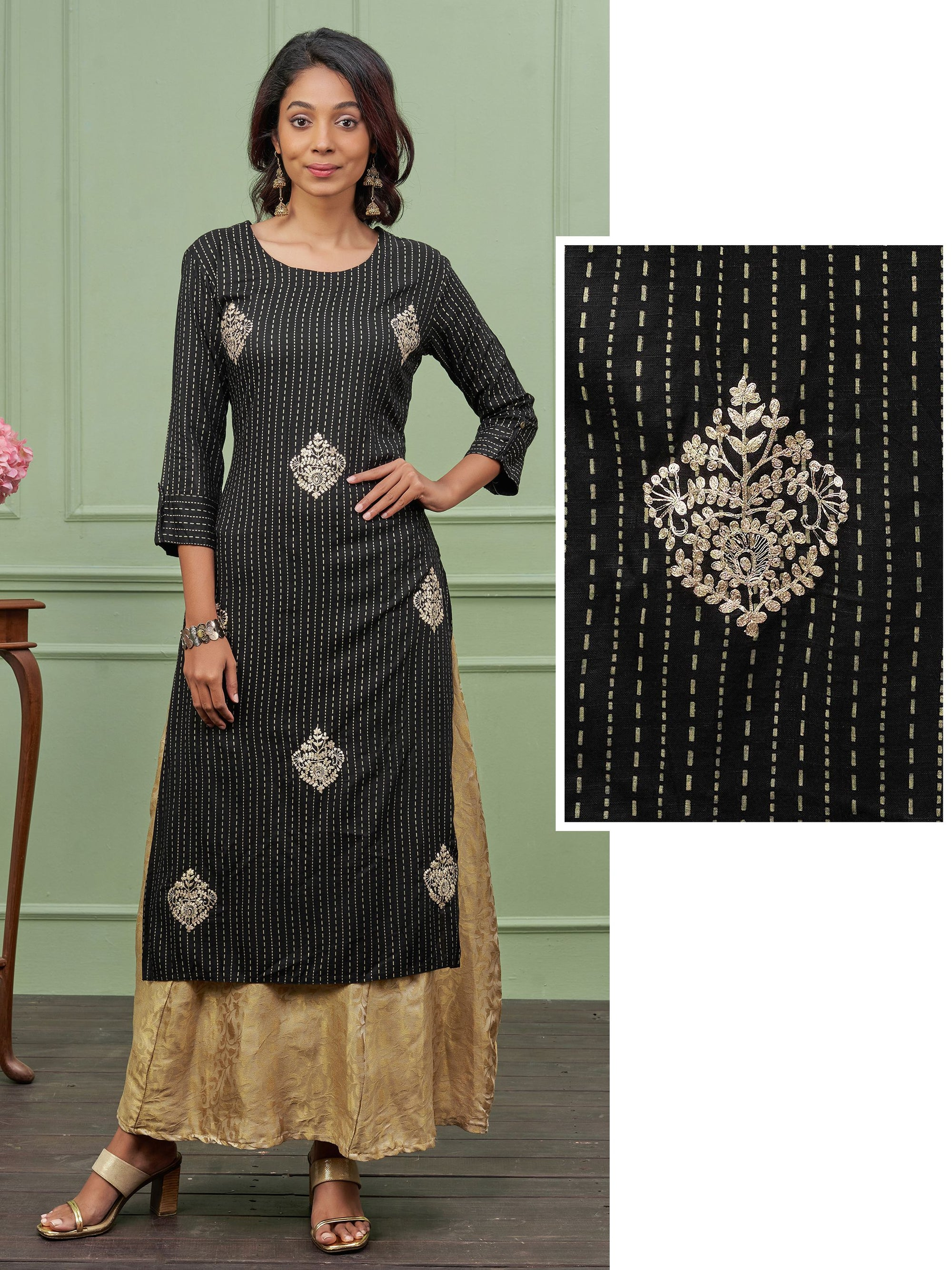 Cord Embroidered & Chalk Striped Kurti – Black