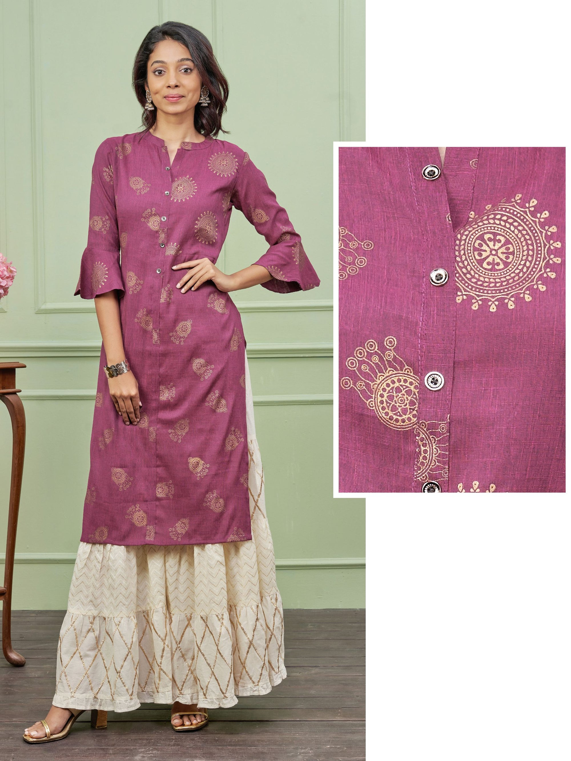 Dual Toned Motif & Dream Catcher Printed Cotton Kurti