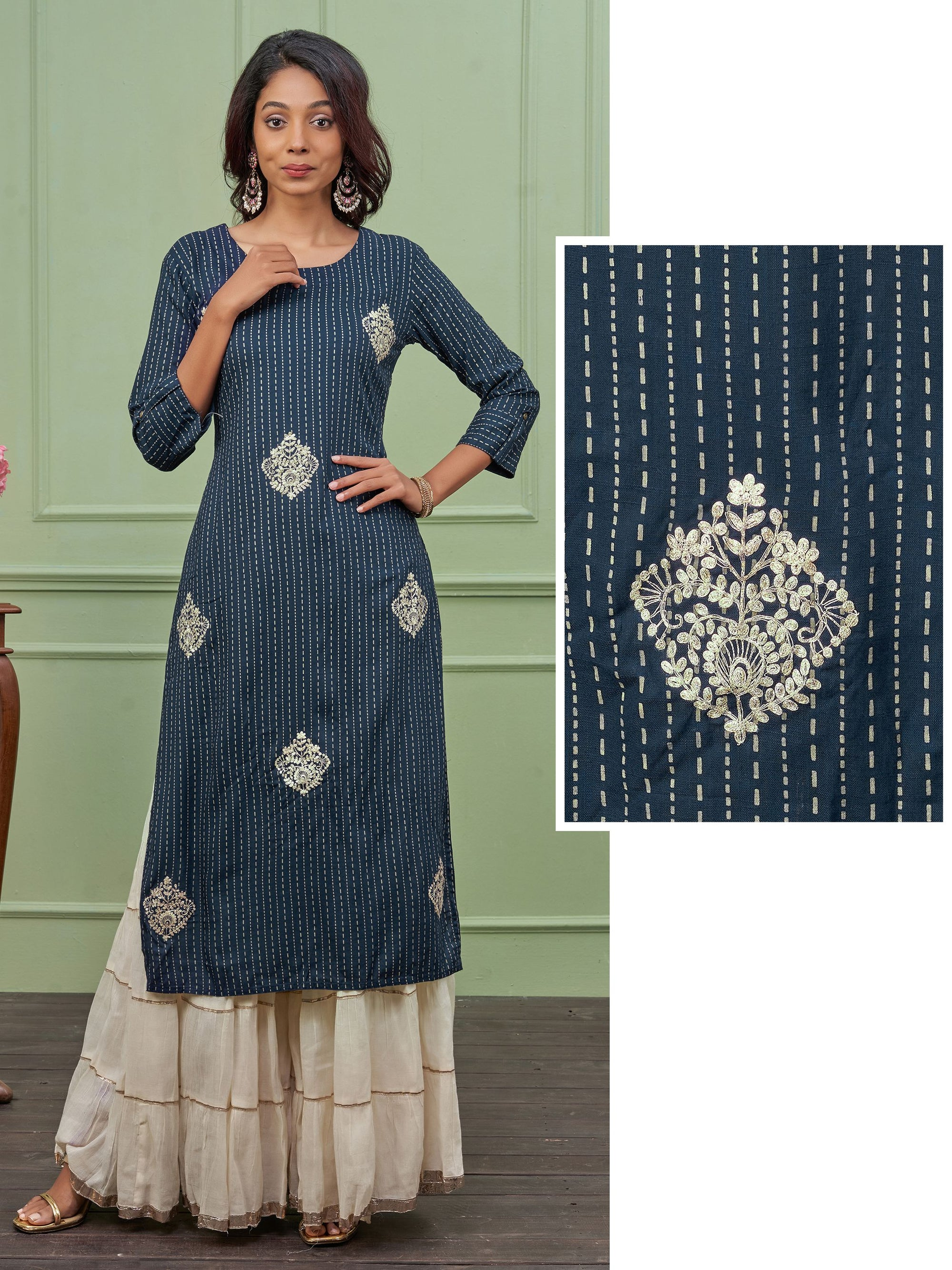 Cord Embroidered & Chalk Striped Kurti – Navy Blue