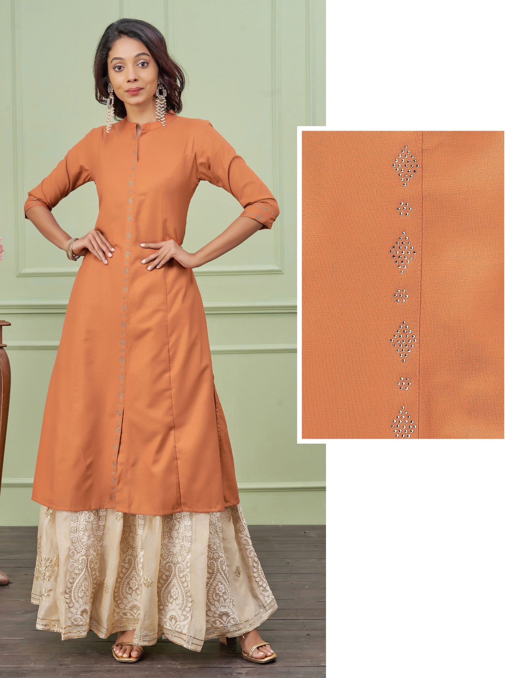 Swarovski Embellished Princess Cut Kurti – Rust Orange