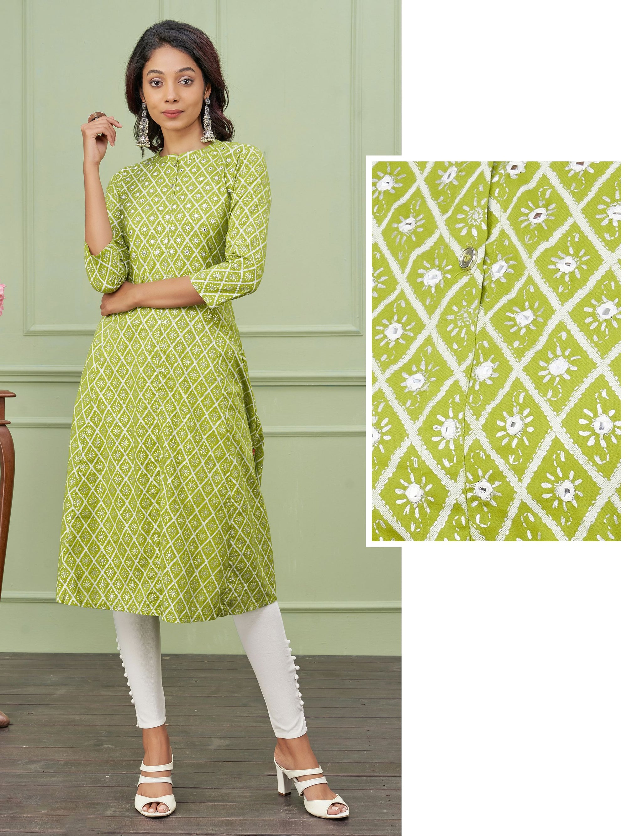 Foil Mirror Worked & Diamond Printed Cotton Kurti – Chartreuse Green