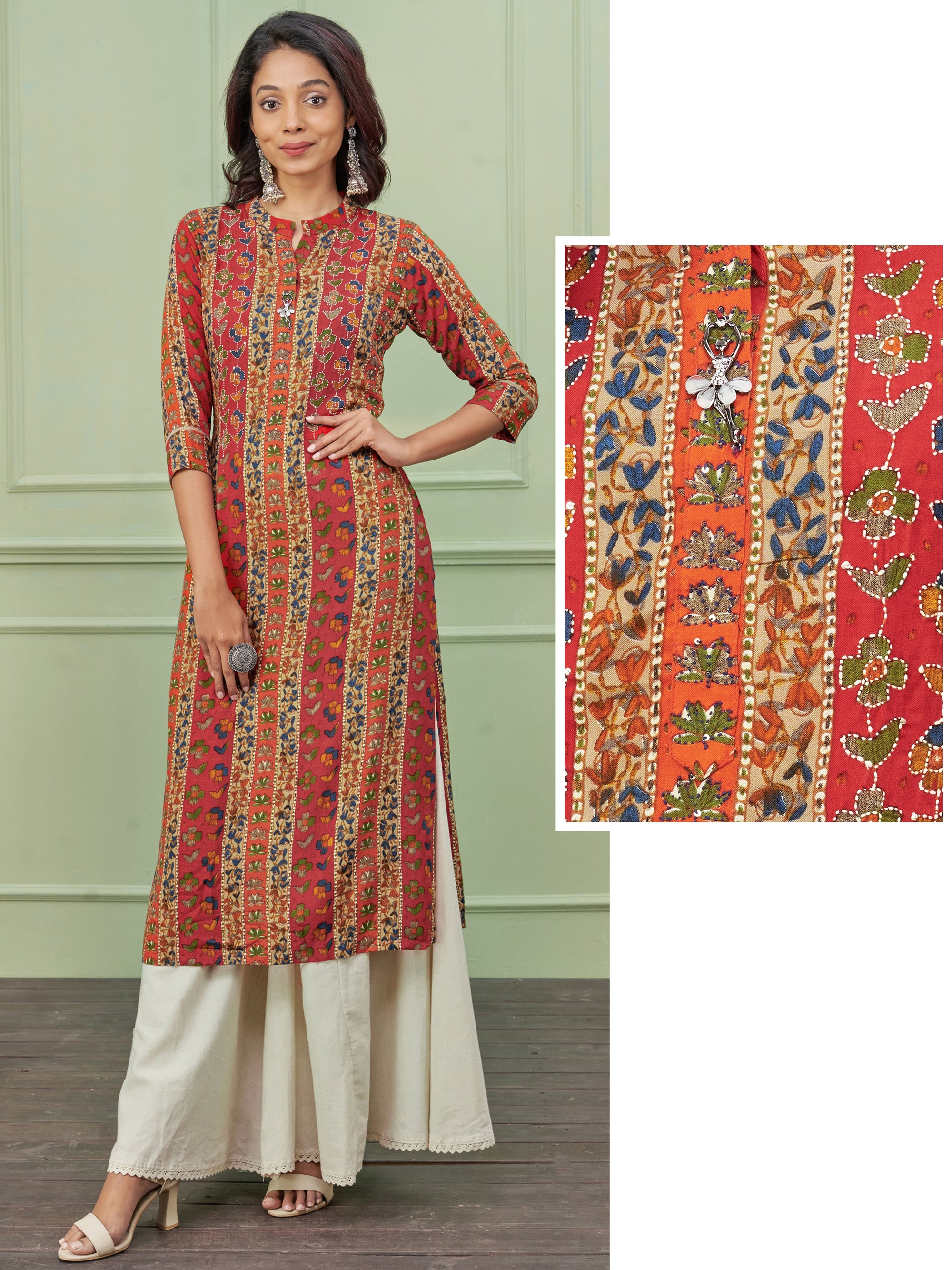 Cutdana Embellished Ditsy Floral Printed Kurti
