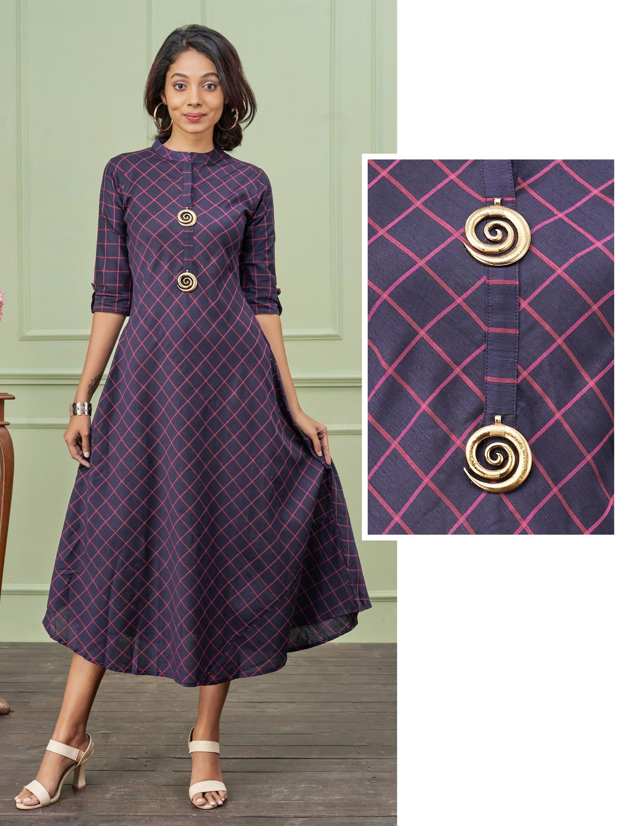 Spiral Brooch & Checkered Bias Cut Kurti