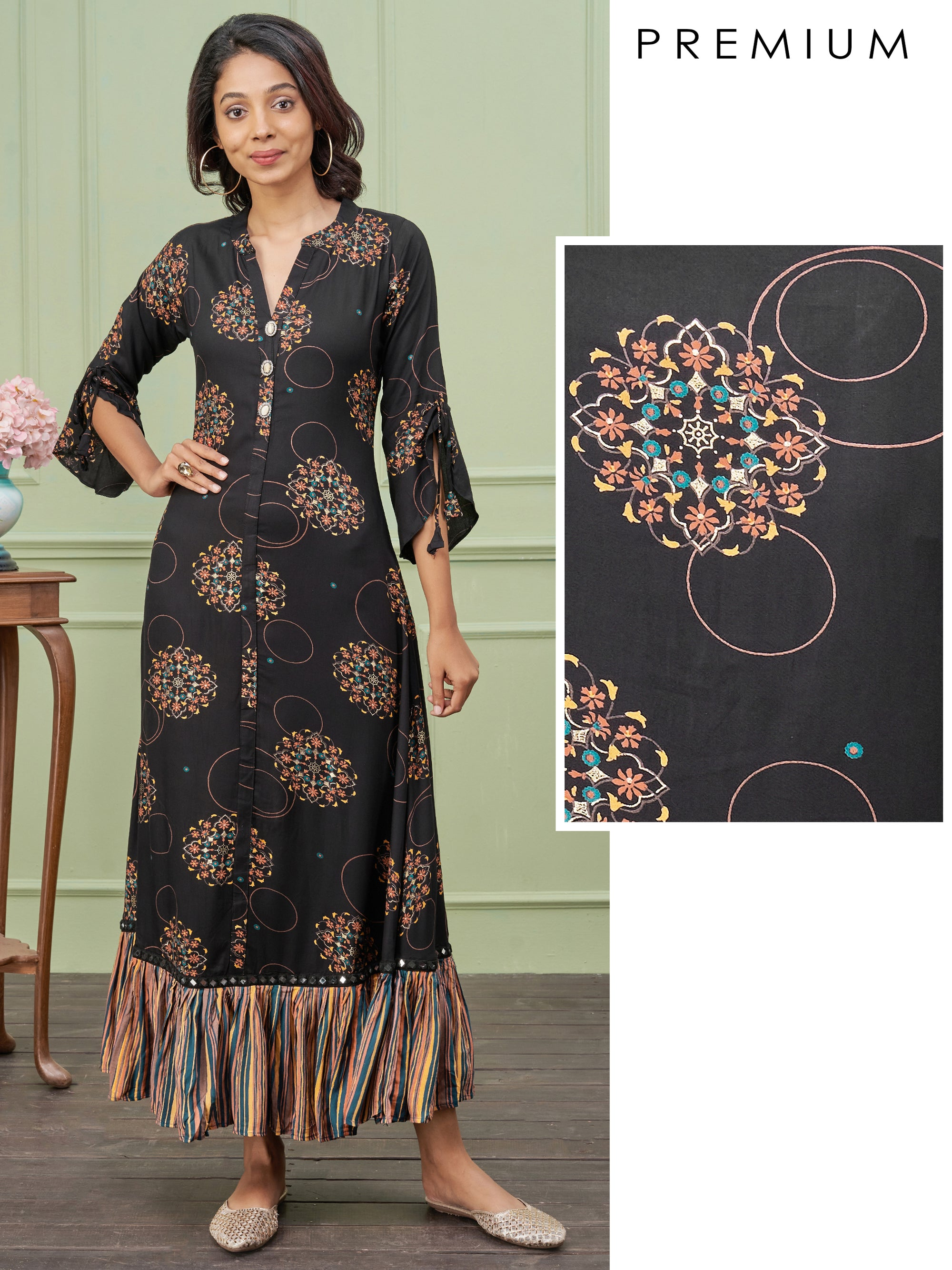 Floral Motif Printed Maxi with Gathered Flare – Black