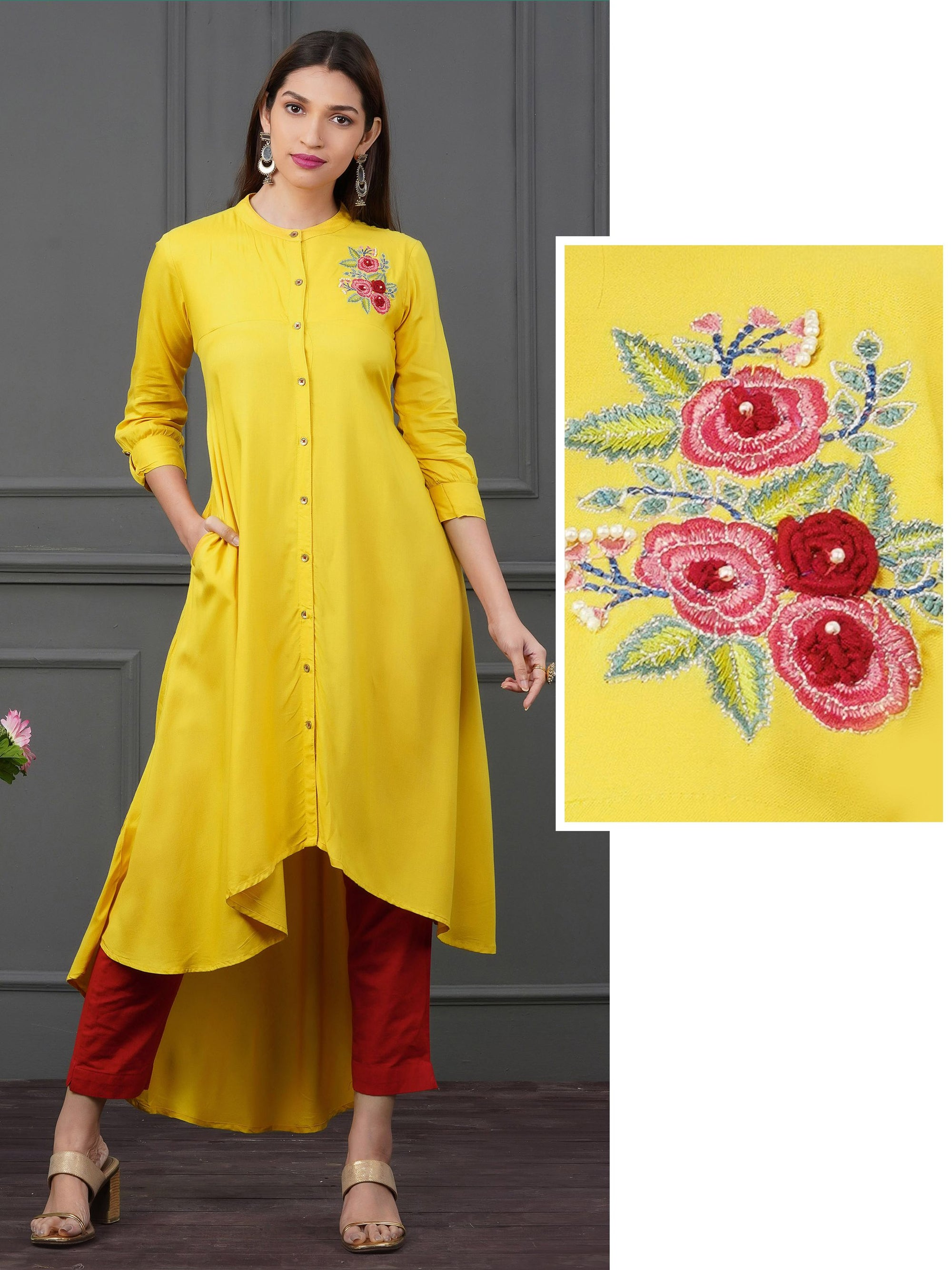 Placement Floral Embroidered Asymmetric Kurti