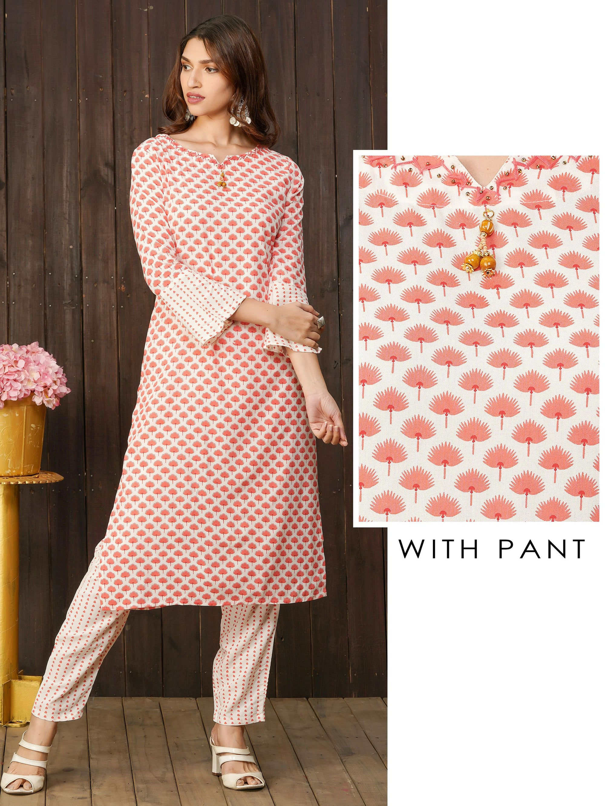Ditsy Floral Printed Kurti with Dotted Pant Set
