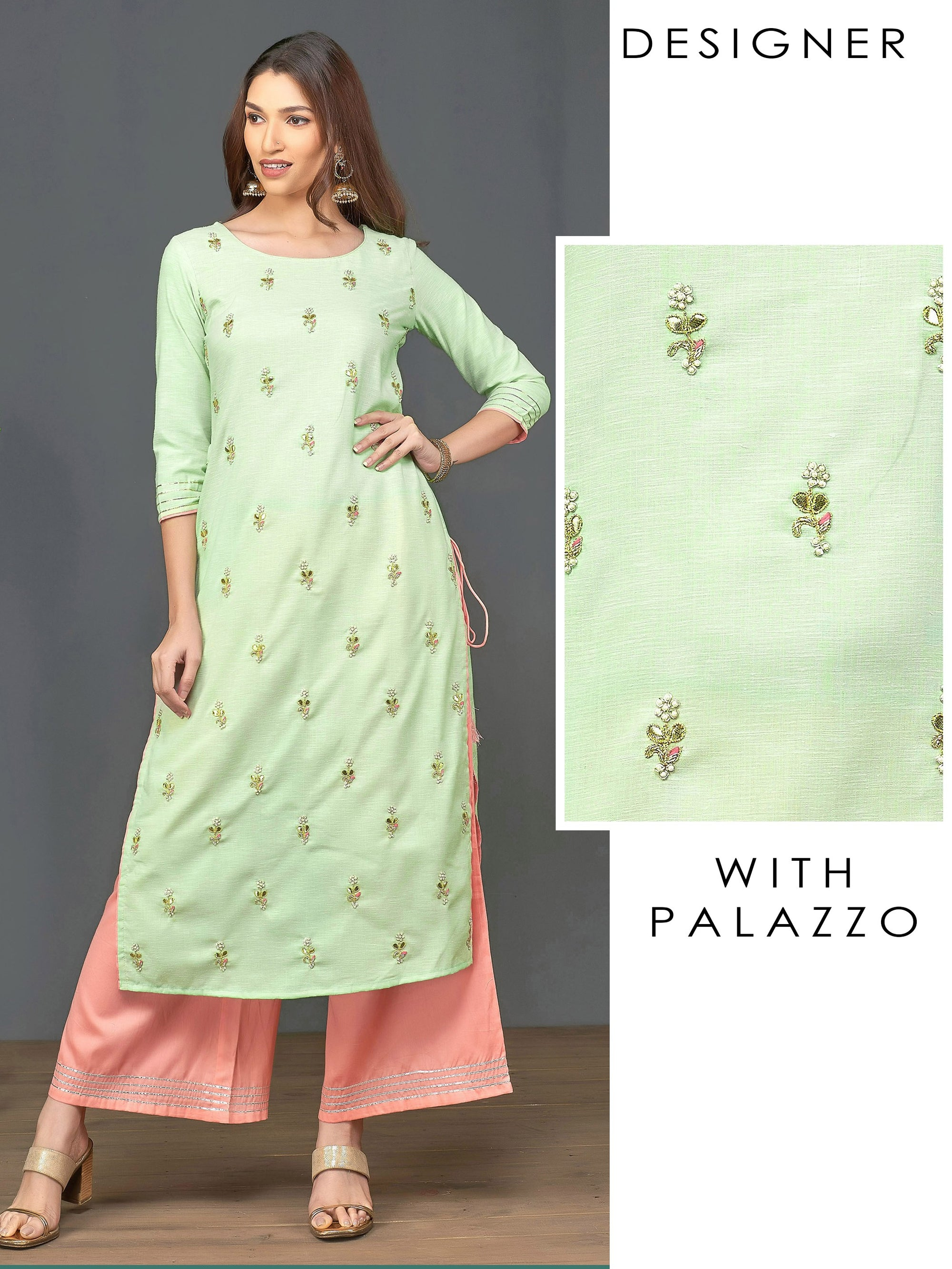 Gota & Pearl Bead Embellished Kurti with Palazzo Set