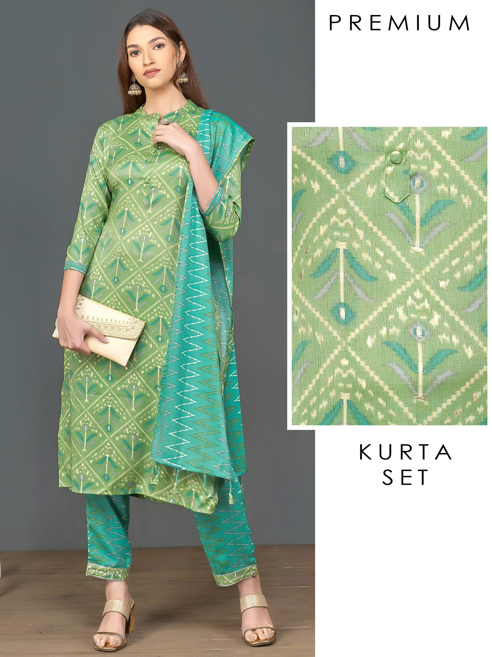 Abstract Printed Kurti & Chevron Printed Pant with Dupatta