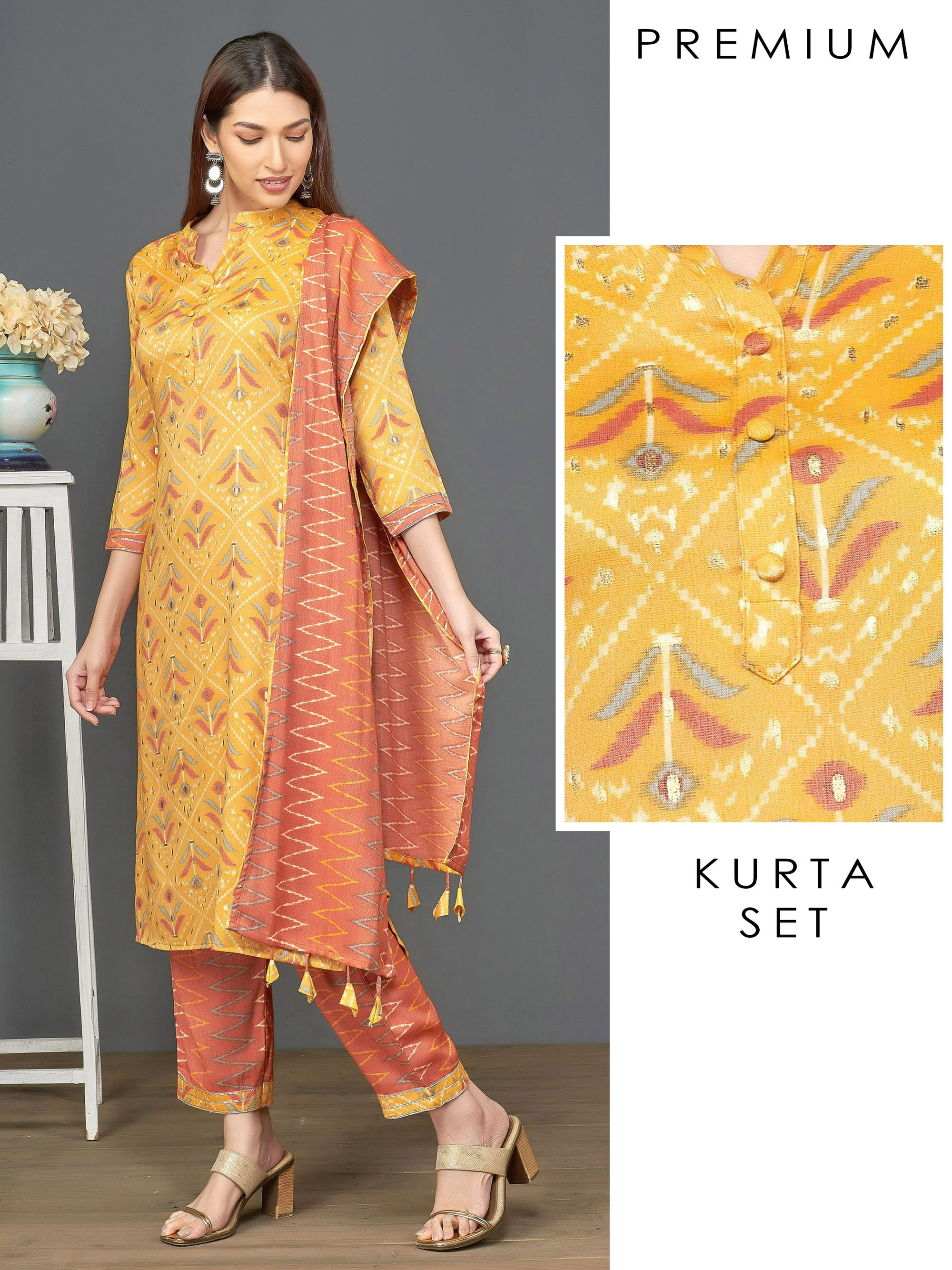 Abstract Printed Kurti & Chevron Printed Pant with Dupatta – Yellow