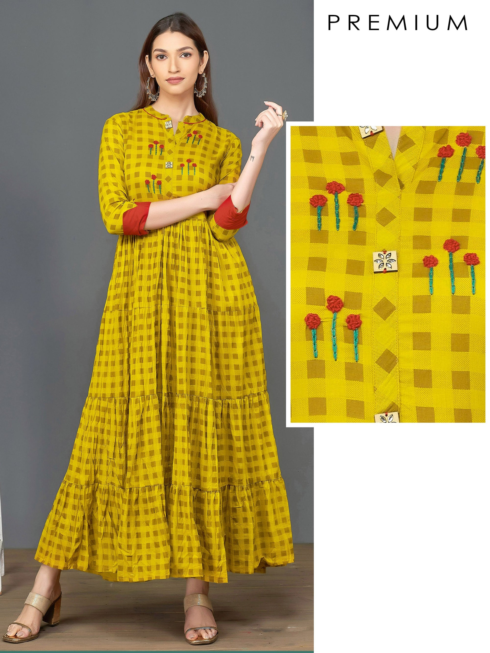 French Knot Embroidered & Checkered Tier Maxi – Mustard