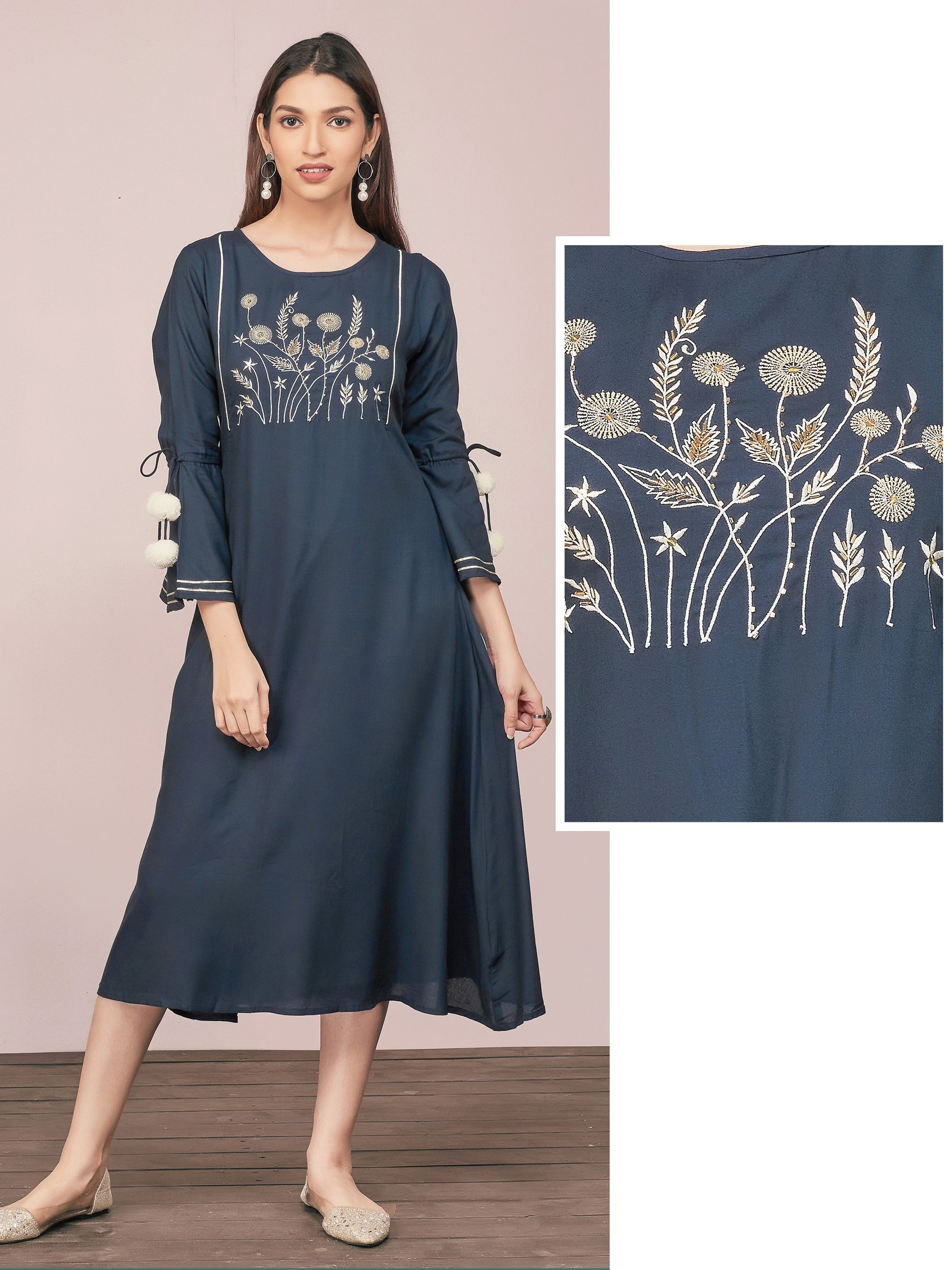 Floral Zari Embroidered A-Line Maxi – Navy Blue