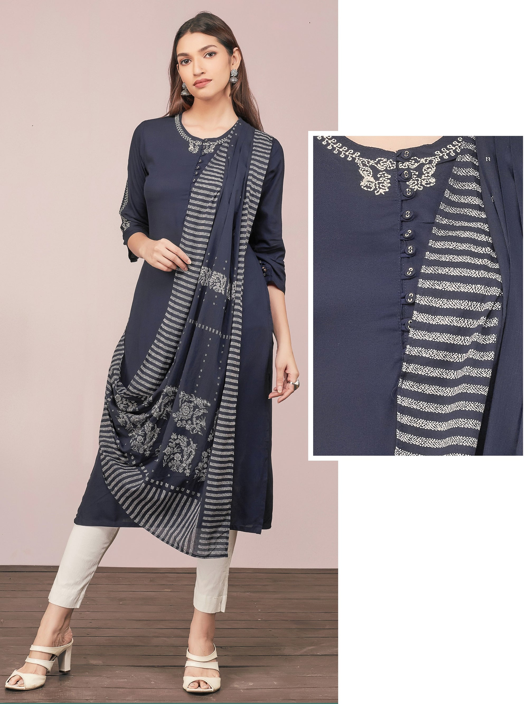 Minimal Embroidered & Stylish Draped Kurti