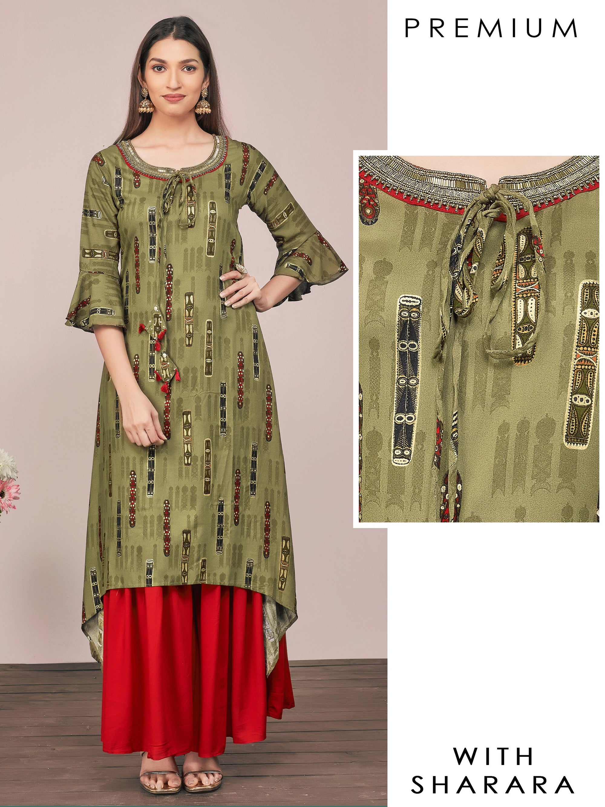 Intense Cutdana Embellished Kurti & Solid Sharara Set