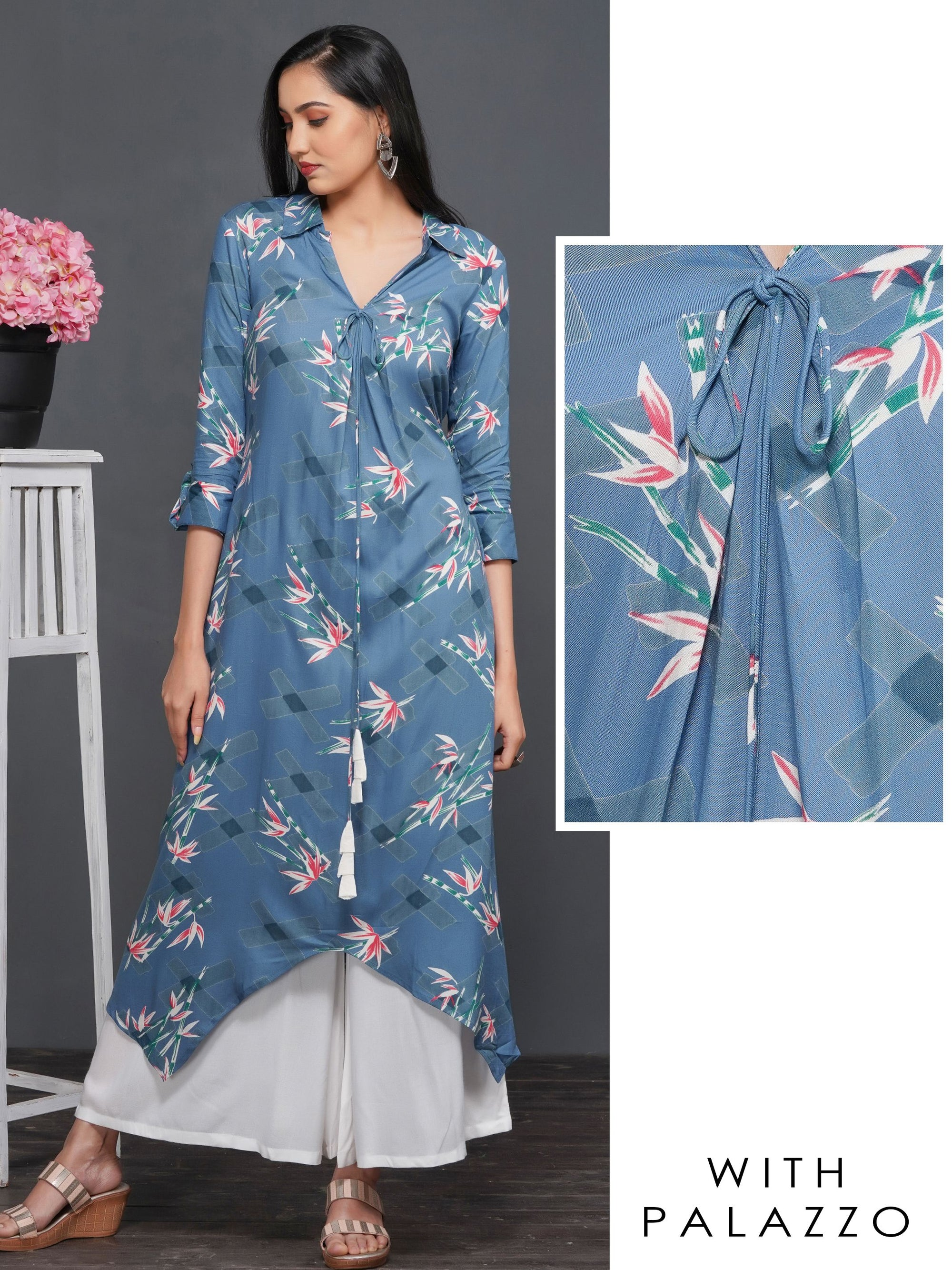 Lily Floral Printed High Low Kurti with Solid Palazzo