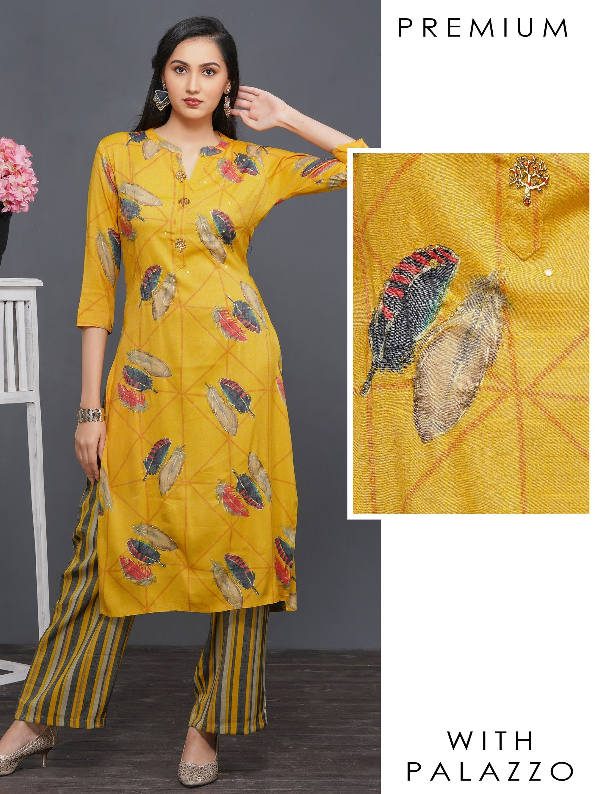 Cutdana Embellished Feather Printed Kurti with Striped Palazzo – Mustard