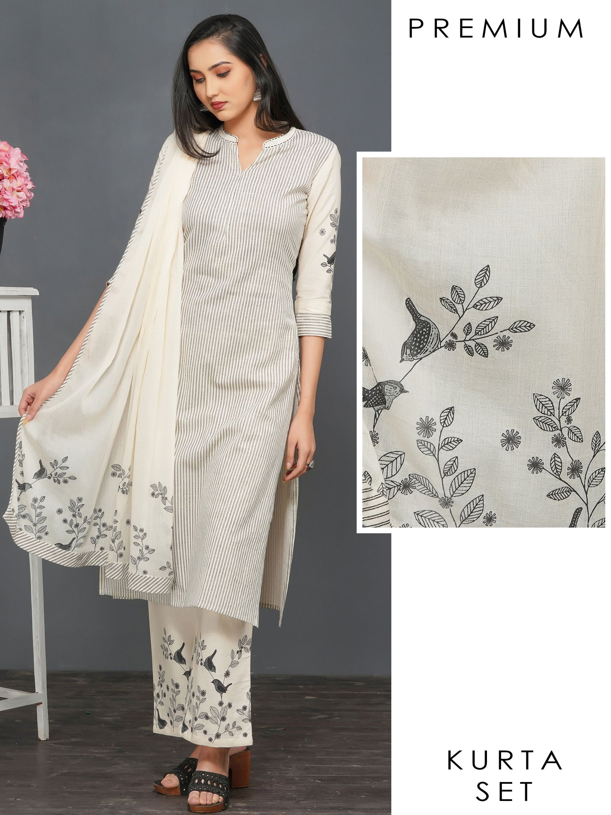 Double Pin Striped Kurti with Bird Printed Palazzo & Dupatta – Off-White
