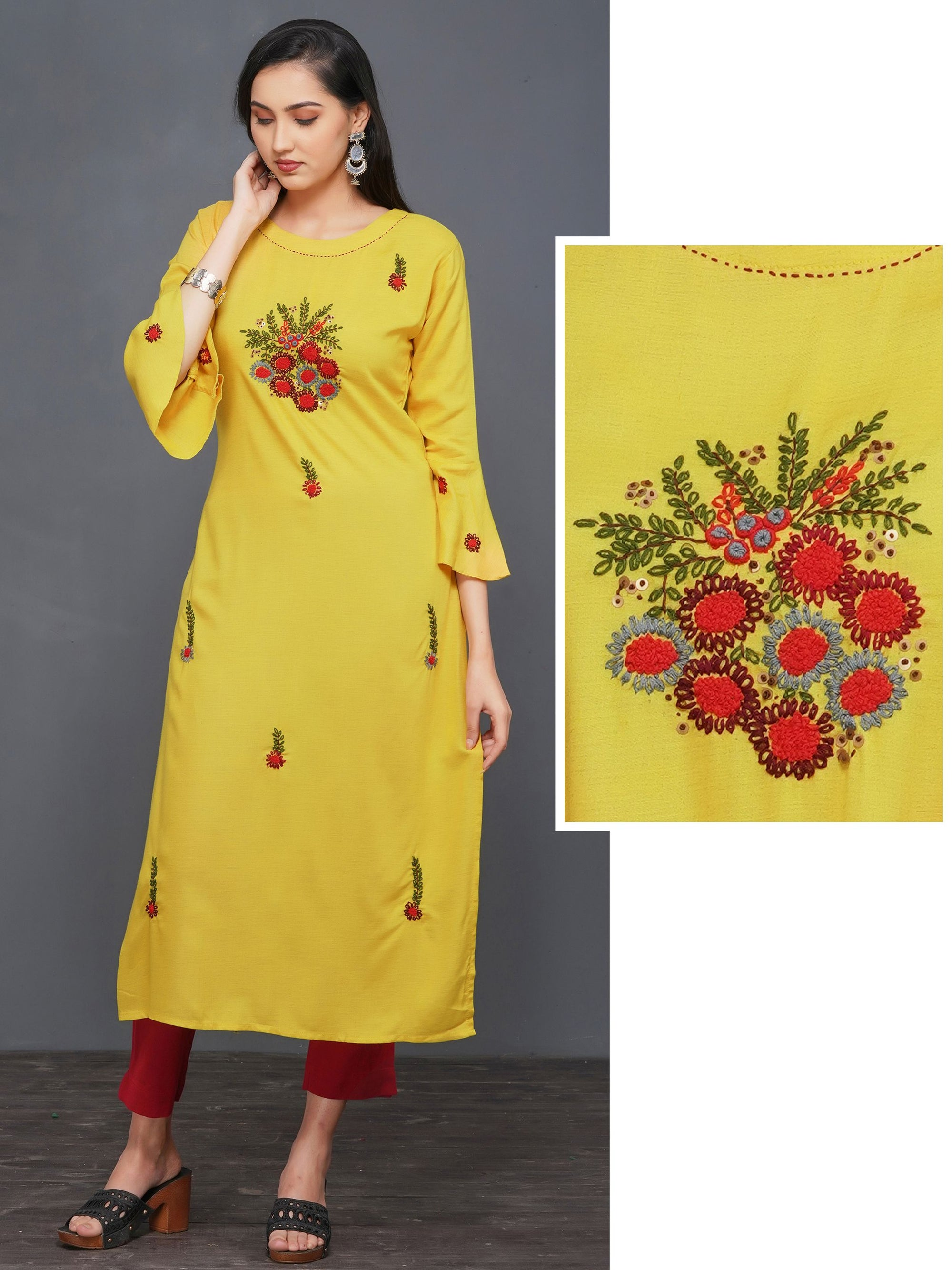 Floral Embroidered Premium Rayon Kurti