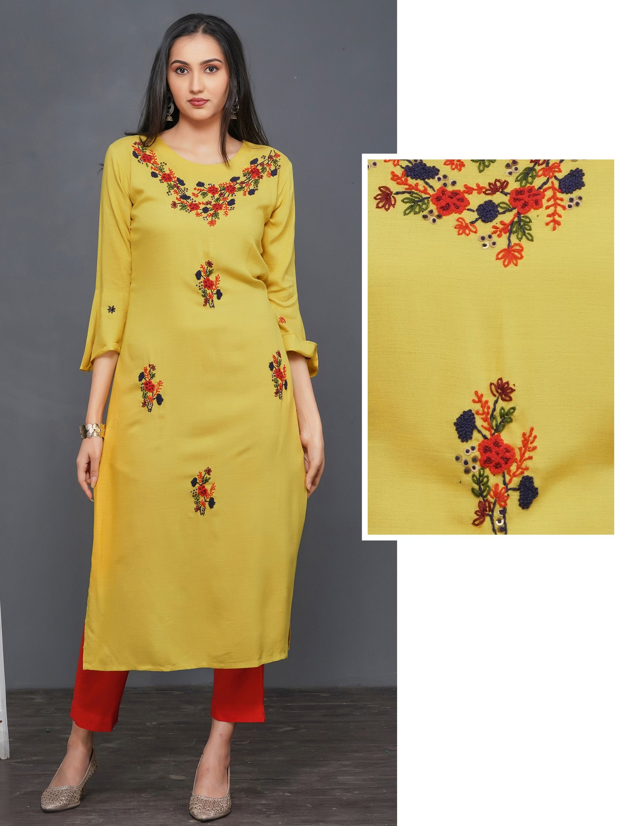 Floral Embroidered Premium Rayon Kurti – Yellow