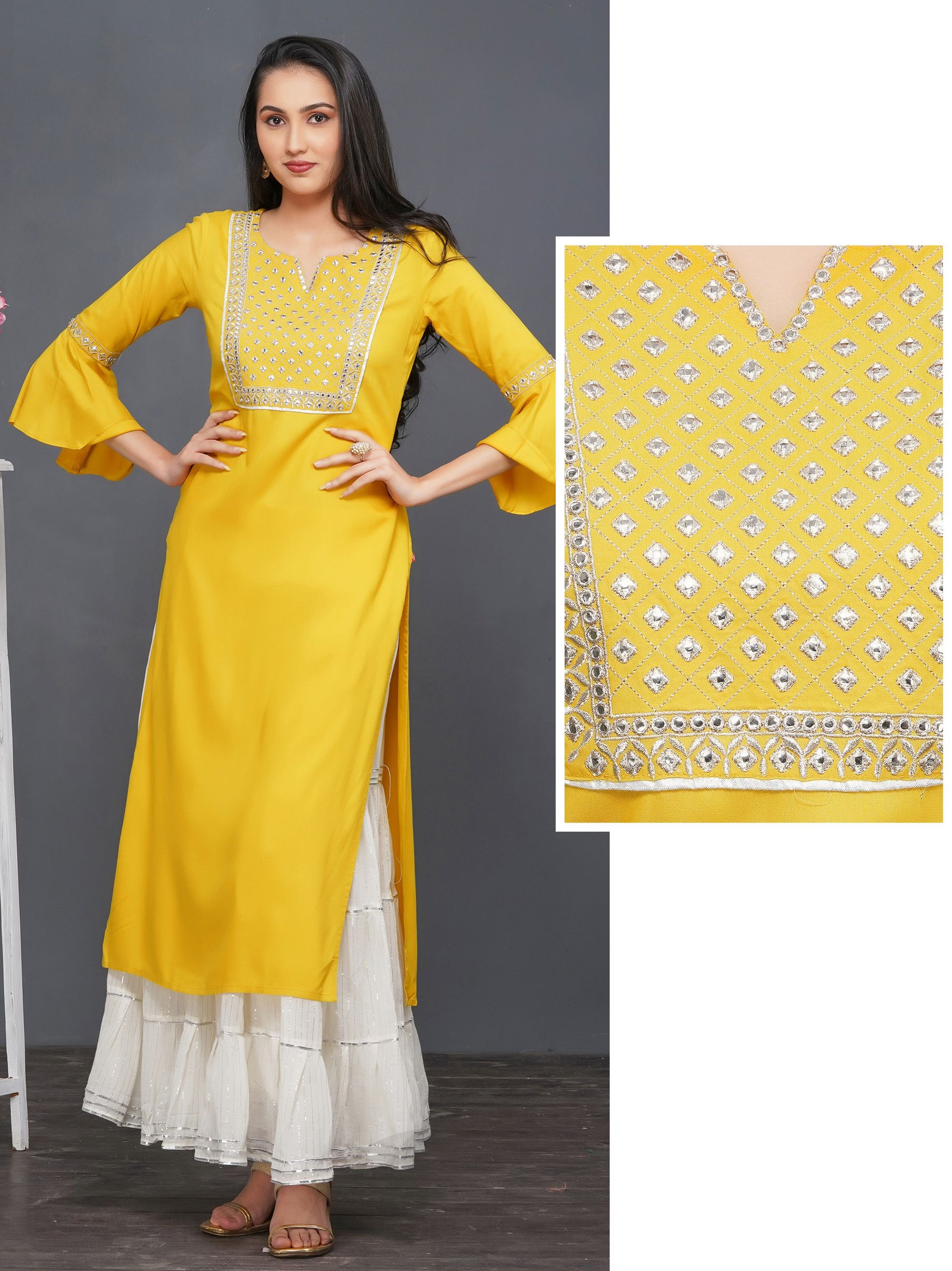 Mirror Worked & Zari Embroidered Rayon Kurti – Mustard