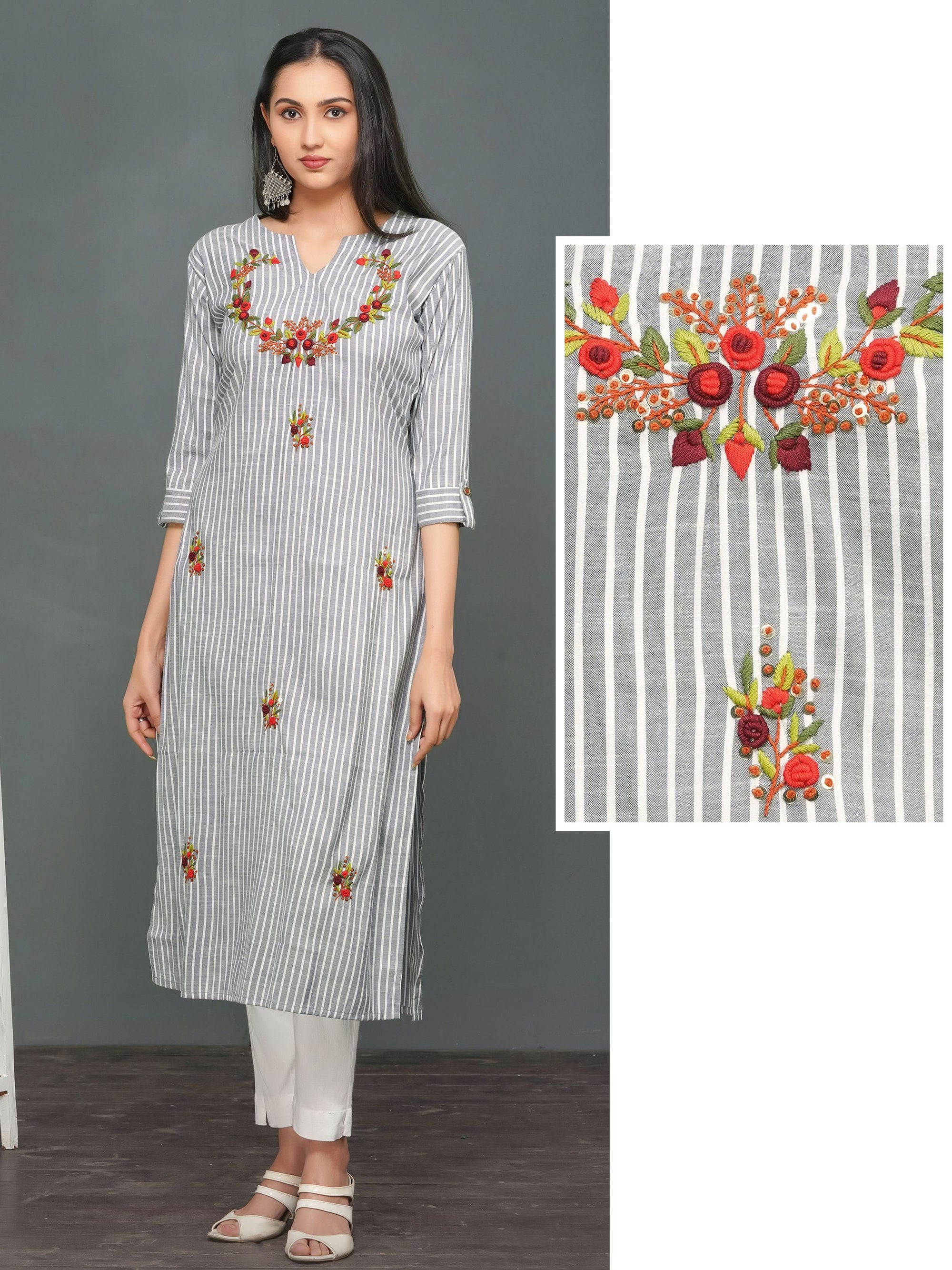 Bullion Knot Floral Embroidered Kurti – Grey