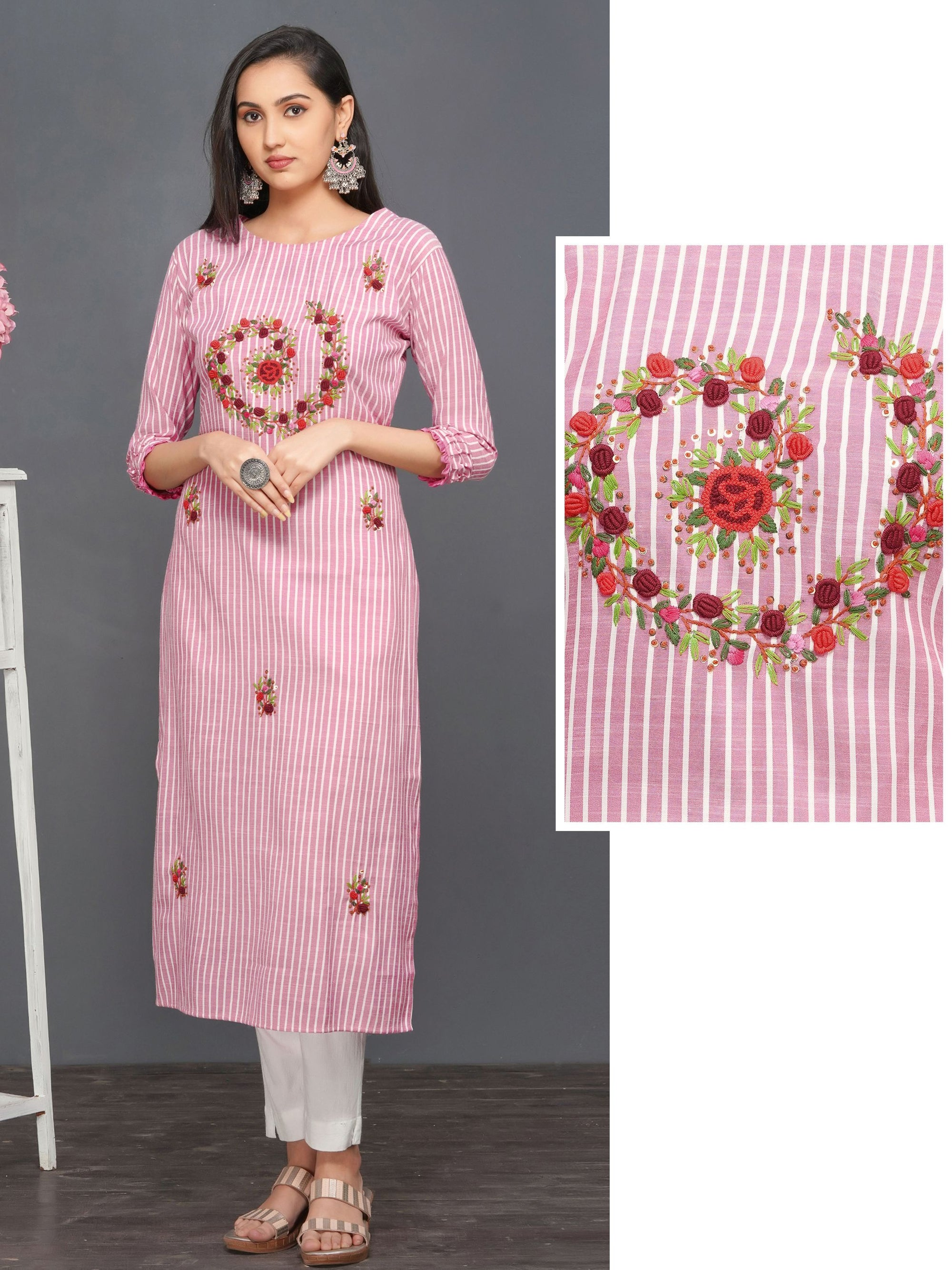 Bullion Knot Floral Embroidered Kurti – Pink