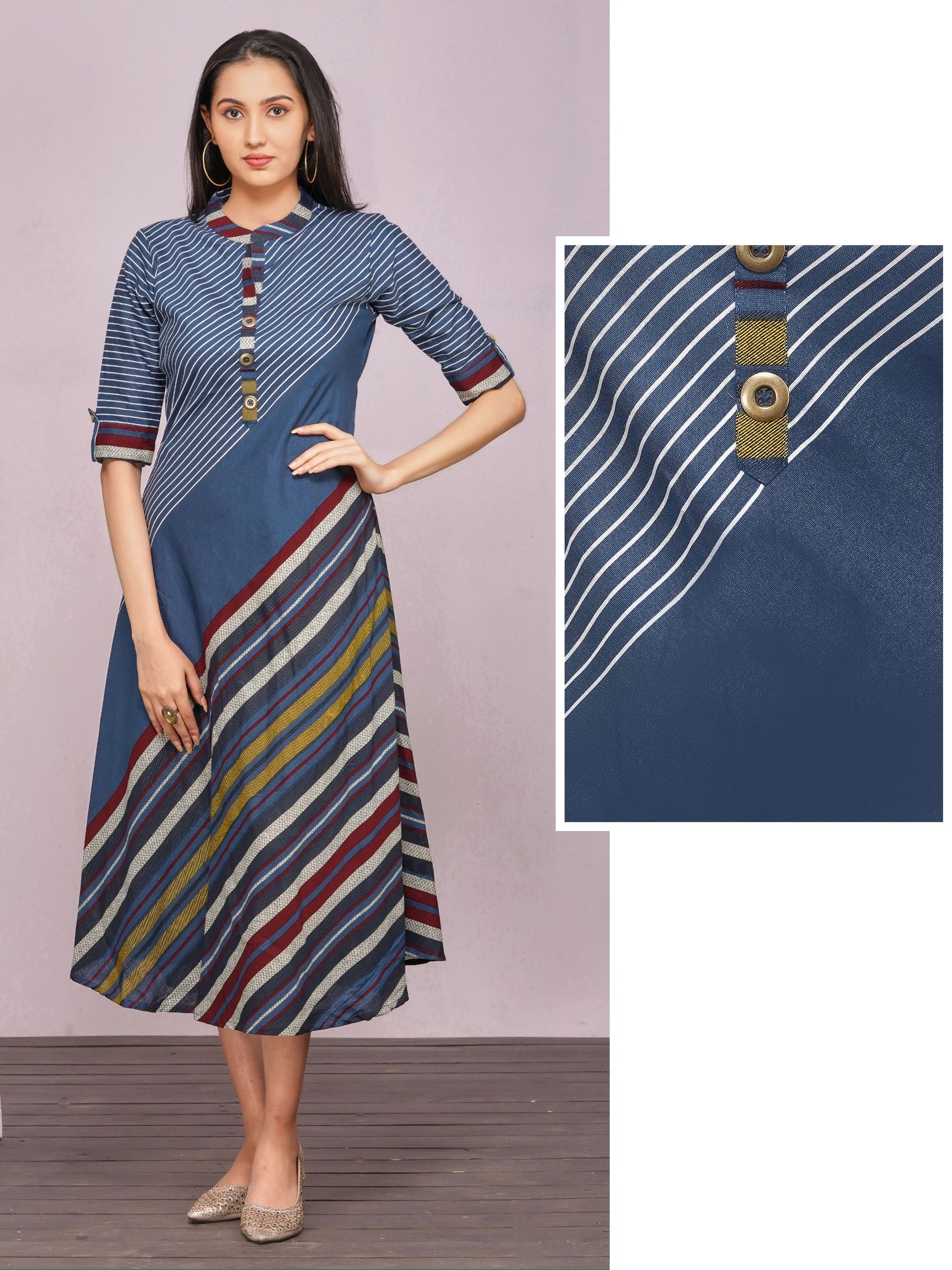 Multi-Color Diagonal Striped & Bias Cut A-Line Kurti – Navy Blue